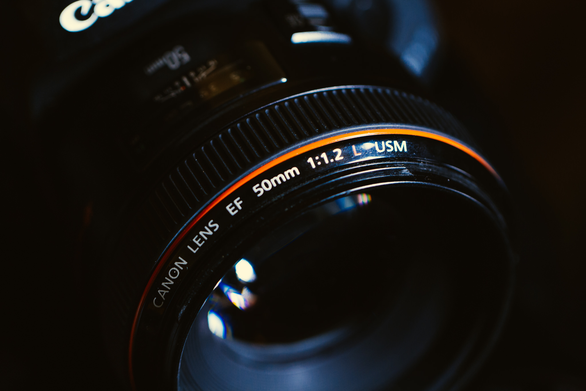 Canon's classic 50mm F1.2 lens, blurs backgrounds and let's the camera see in the dark