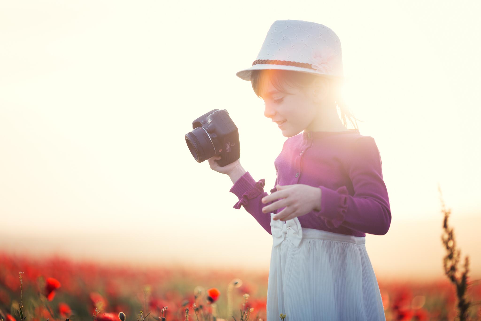 Natural light, sunset in poppy field