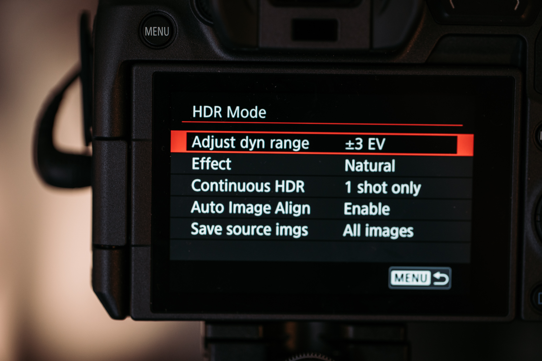 In-camera HDR options