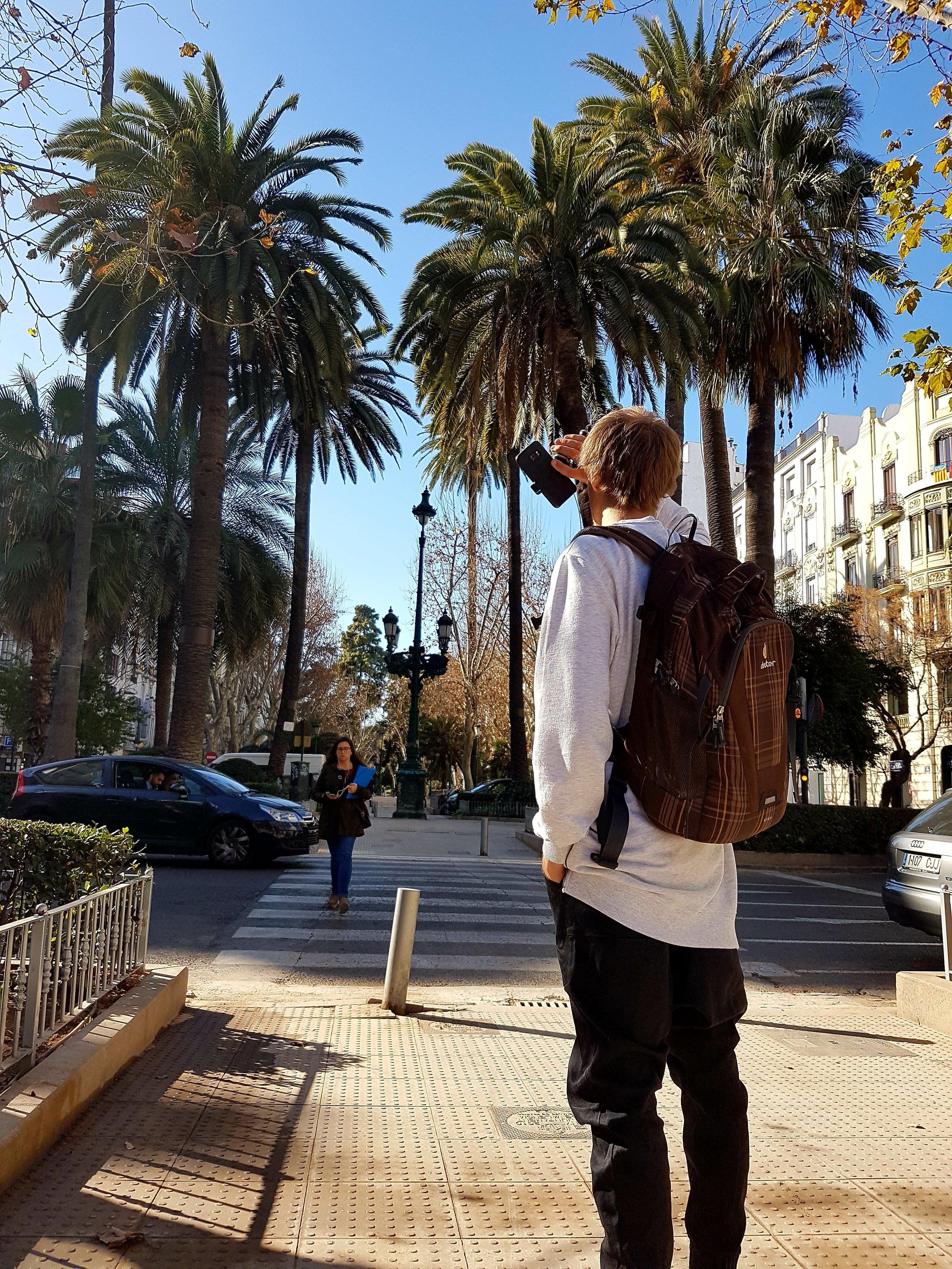 Valencia tänavaid filmimas ja pildistamas.