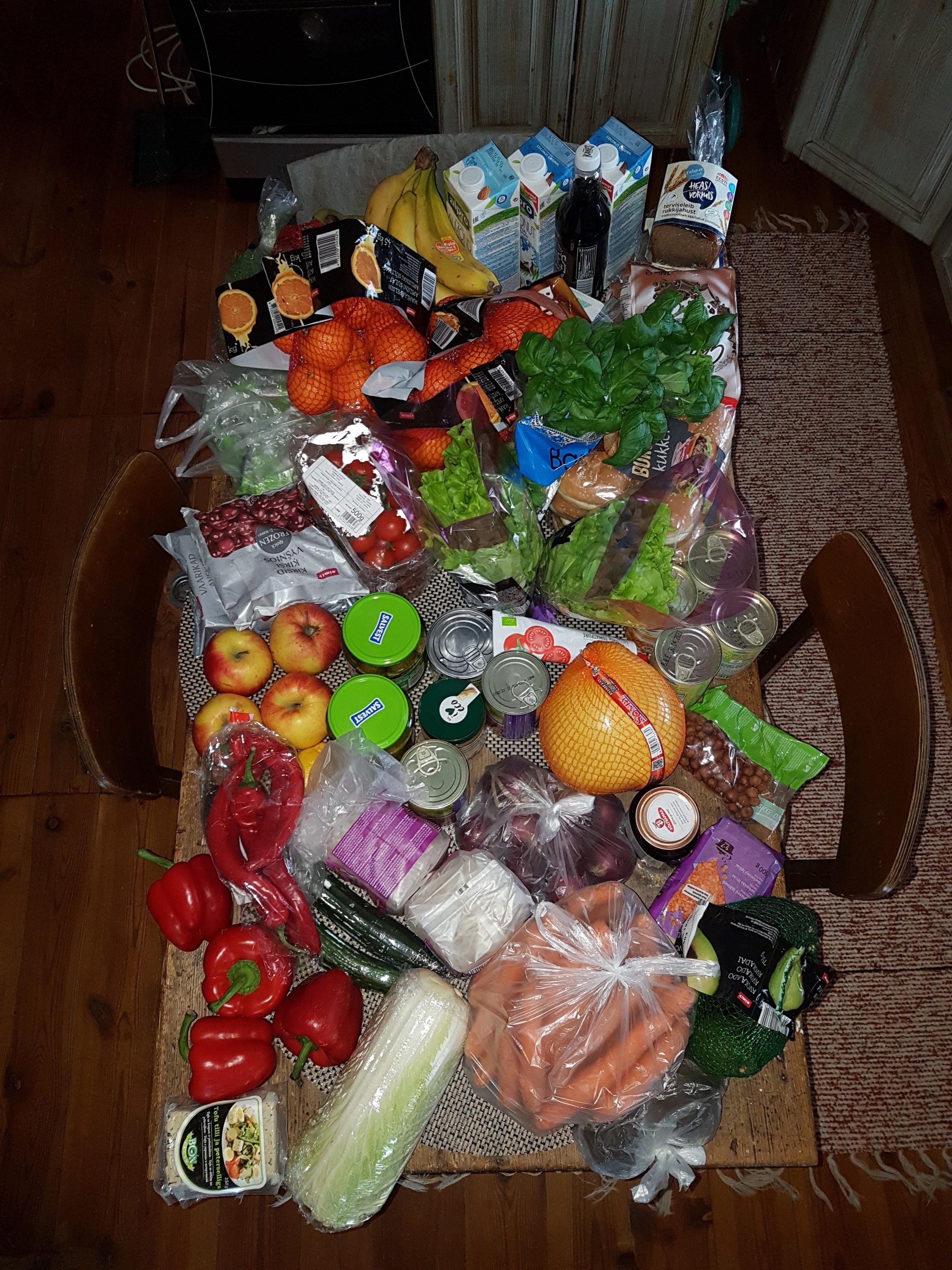 Nädala toit ühel pildil. Kõik kokku 97.98€