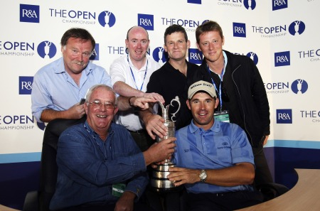Pádraig Harrington with members of the IGWA at Carnoustie in 2007