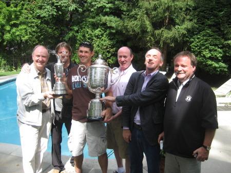 Pádraig Harrington with members of the Irish press at Bloomfield Township, Michigan, August 2008