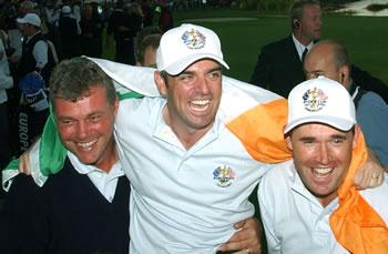 Darren Clarke, Paul McGinley and Pádraig Harrington