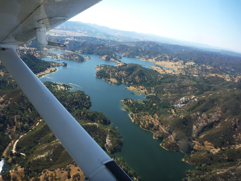 Santa Margarita lake as seen on a scenic flight