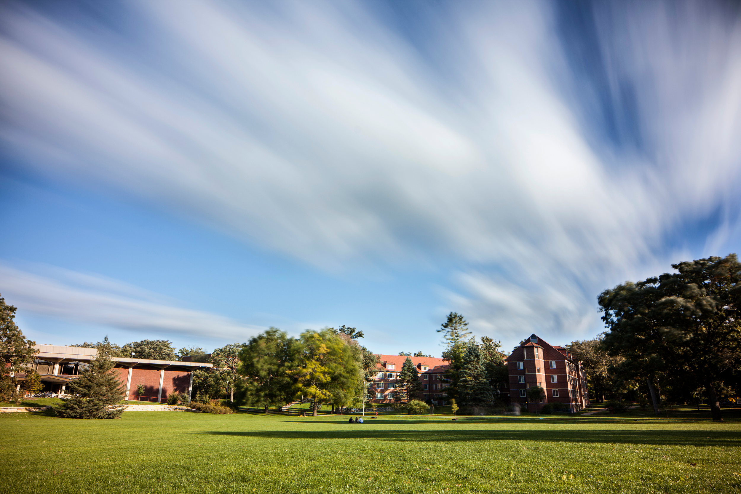 A long exposure of library lawn taken in the Fall of 2014. Photo by Aaron Lurth