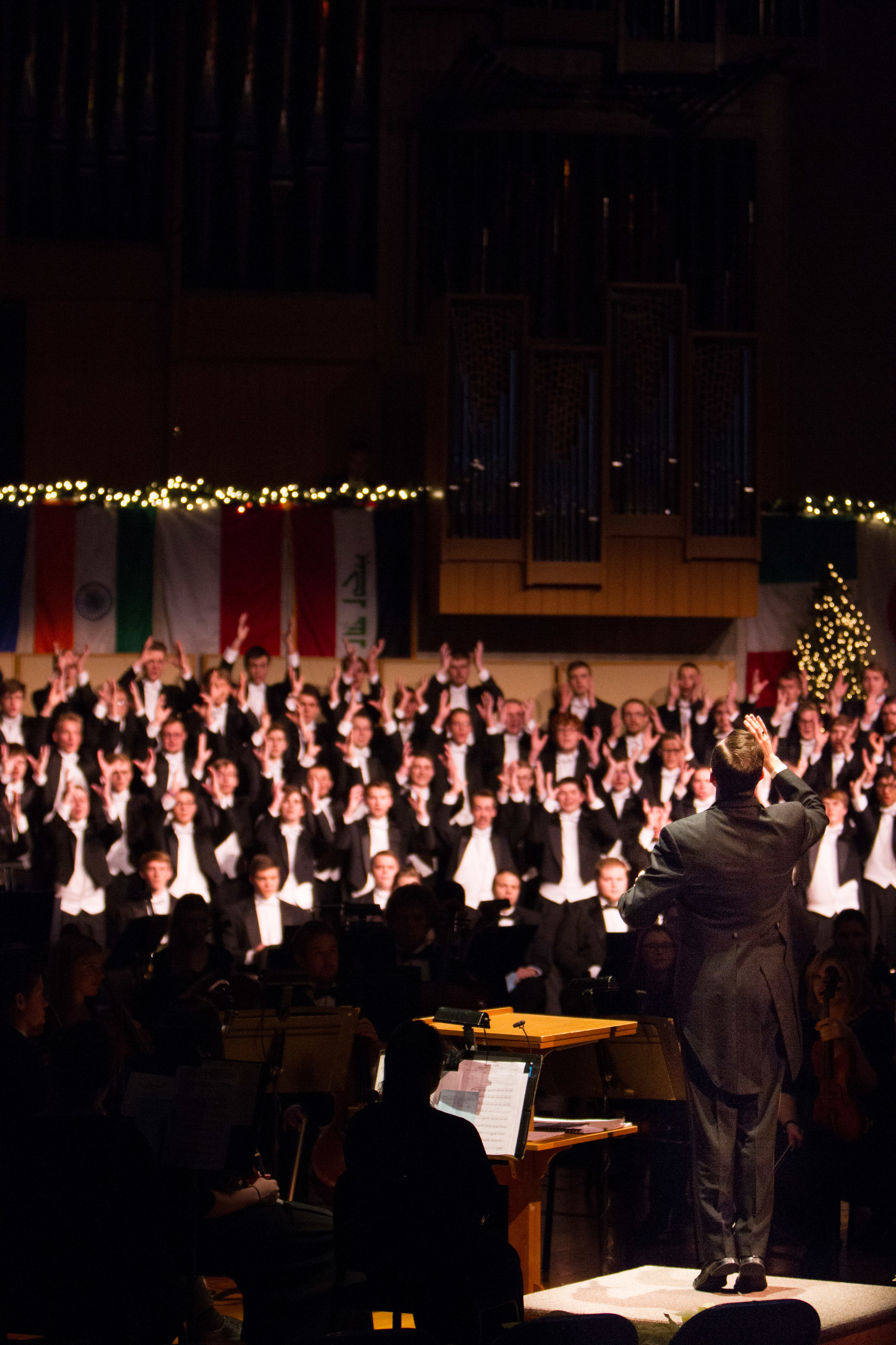 """Christmas At Luther 2015. The theme for this year's preformance was Savior of the Nations, Come. This year's show consisted of a number of international pieces as well as """"traditional"""" western hymns. December 2, 2015. Photo by Aaron Lurth"""