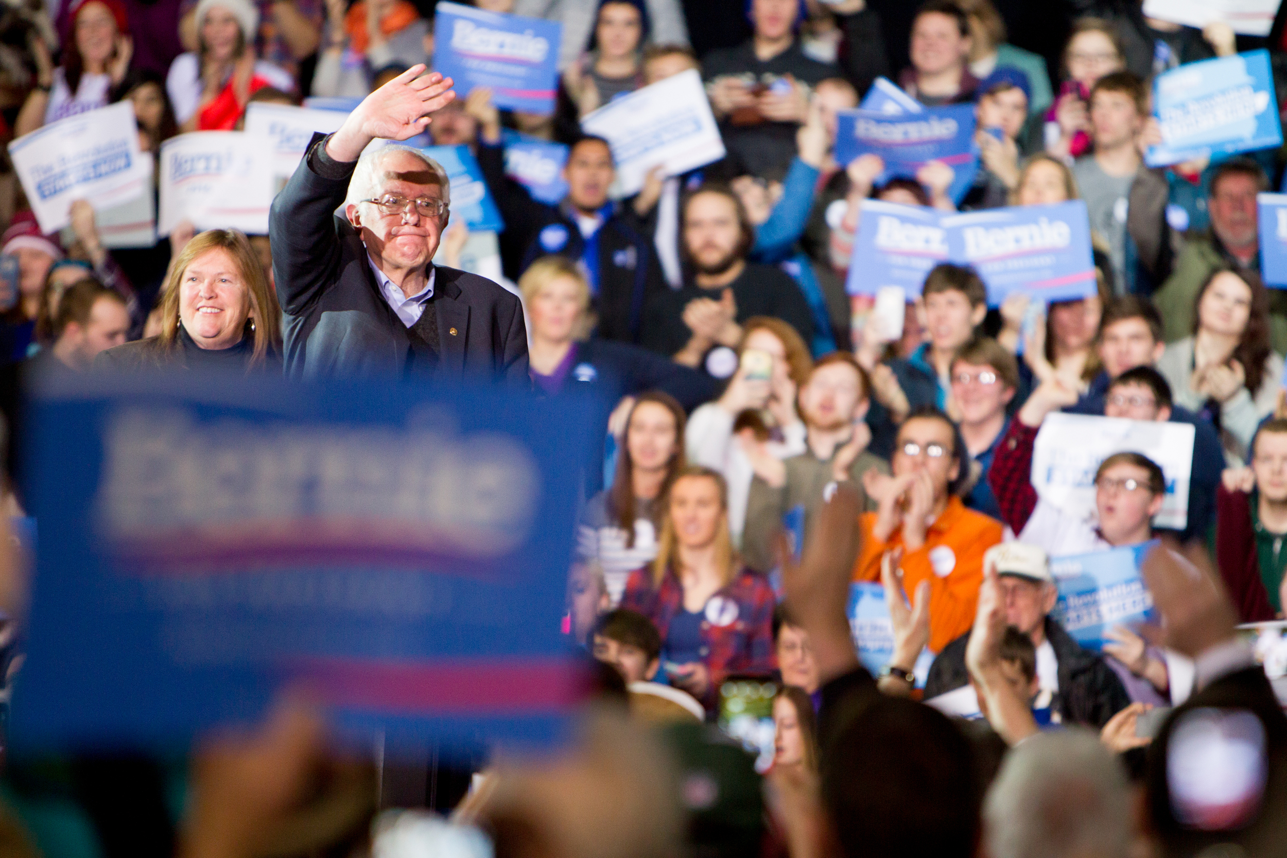 """Walking on stage with his wife the first thing Sanders proclaims when getting to the mic: """"Wow this is a lot of people..."""""""
