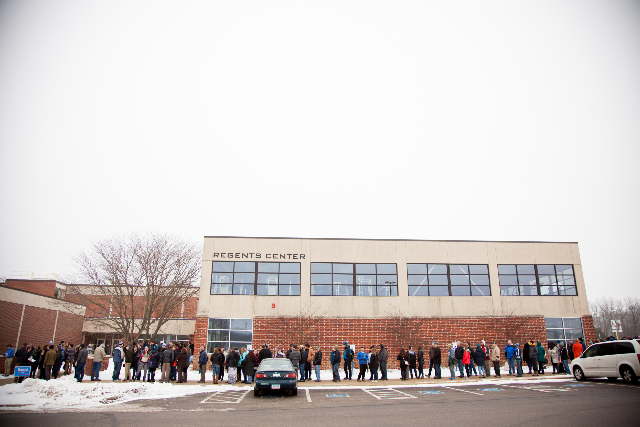 The line to get in to the event started early in the morning and persisted for hours. Fortunately it was a mild winter day by Iowa standards.