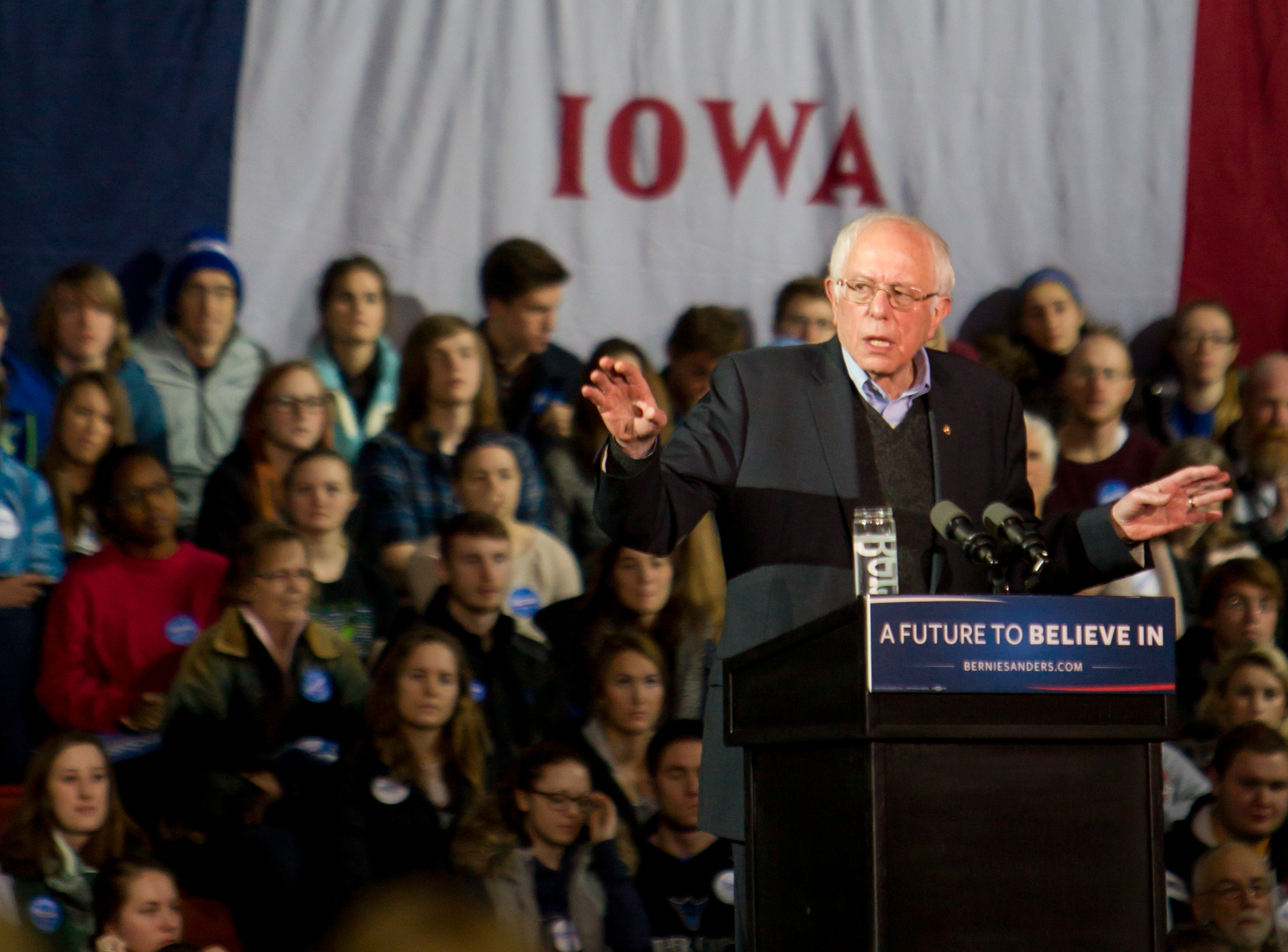 On Sunday, January 24th 2016, Bernie Sanders addressed an energetic cowd of over 2,000 faculty, staff, students and Decorah community members in the Luther College main gym. That rally was part of his last big push to get his message out before the 2016 Iowa caucus taking place the following week. Photo by Aaron Lurth