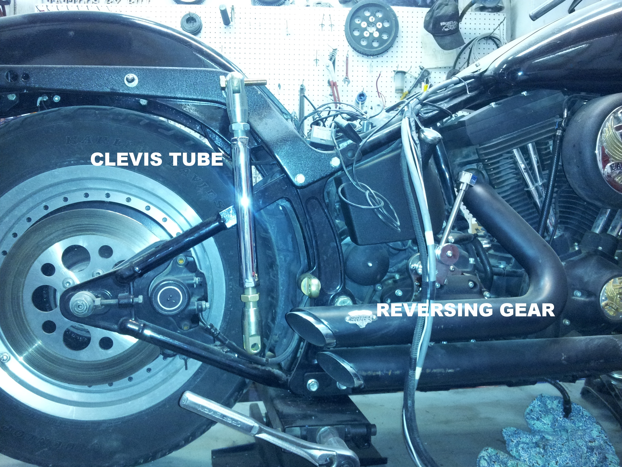 The sidecar is attached using clevis tubes purchased from  Motorvational Engineering   A reversing gear was installed to allow backing up