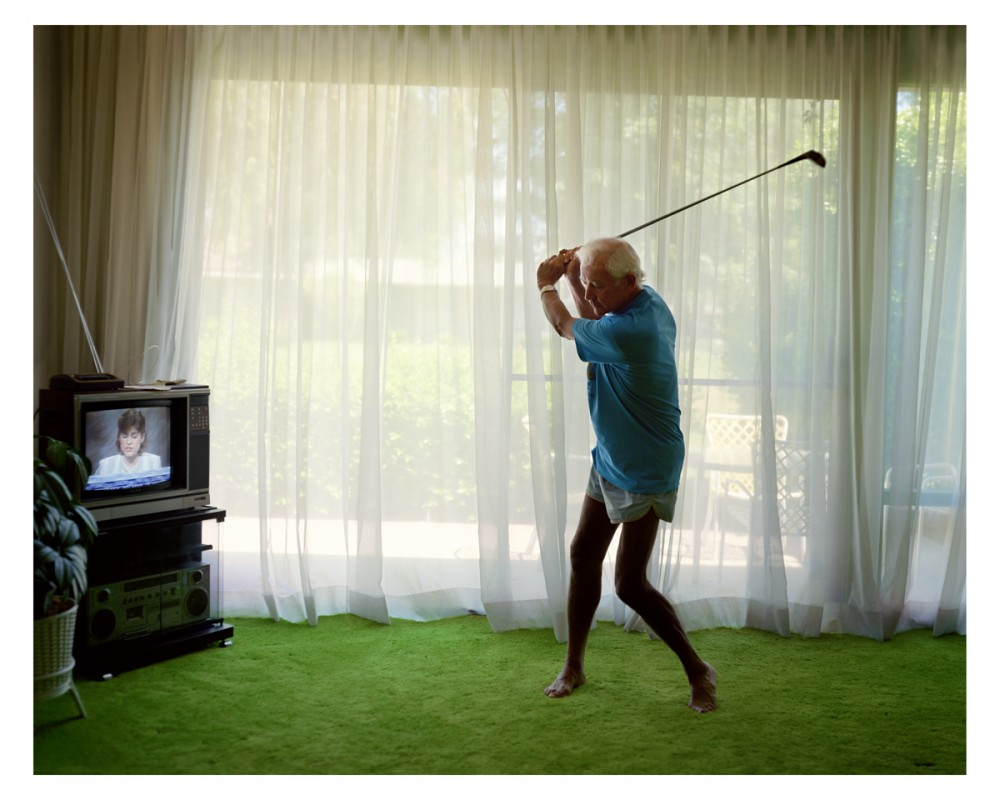 Practicing Golf Swing  14 1/2 x 18 1/4 inches 36.8 x 46.4 cm