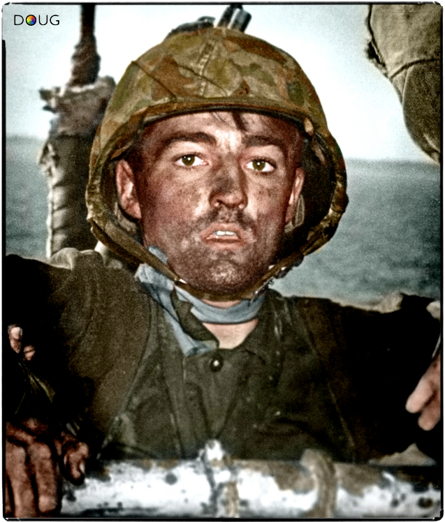 Look into the eyes of this 18 year old US Marine. He's being evacuated from an island in the Pacific where he has been fighting the Japanese during World War II. He's exhausted and dirty and has spent weeks in hell for you and me. He'll die on his next landing in a few weeks. His name was Theodore James MIller.