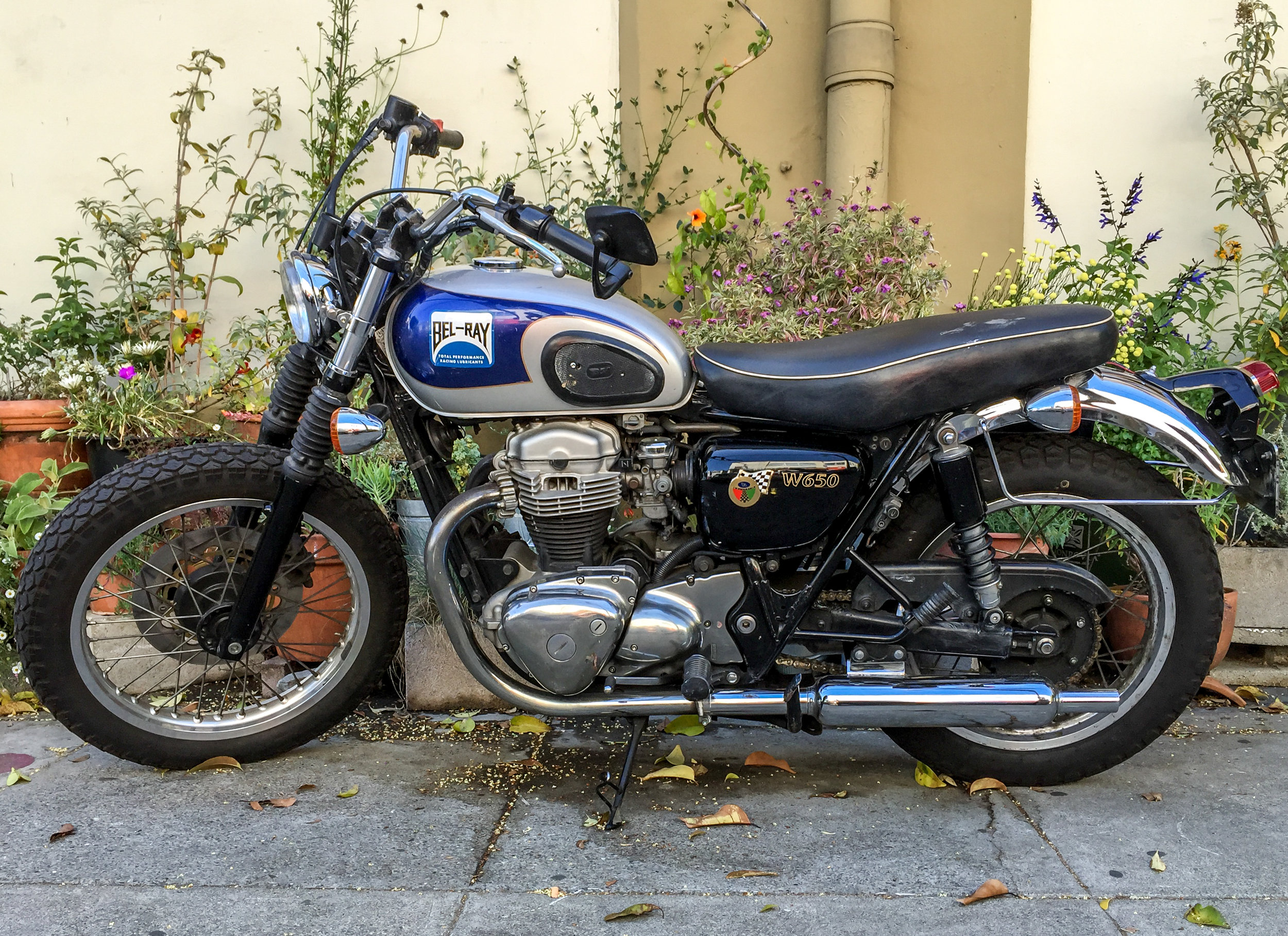 Kawasaki W650 I spotted recently in Berkeley California while visiting Jenny & Mose