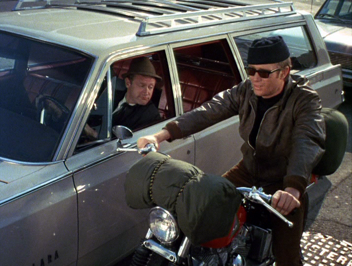 "Michael Parks doing the opening scene of each episode of the TV series. Ordinary man: ""Hey man, where you headed?"" Bronson: ""I don't know. Wherever I end up I guess."" Ordinary man: ""Man, I wish I was you."" Bronson: ""Really?"" as the light turns green,he rolls on the throttle and roars onto the PCH."