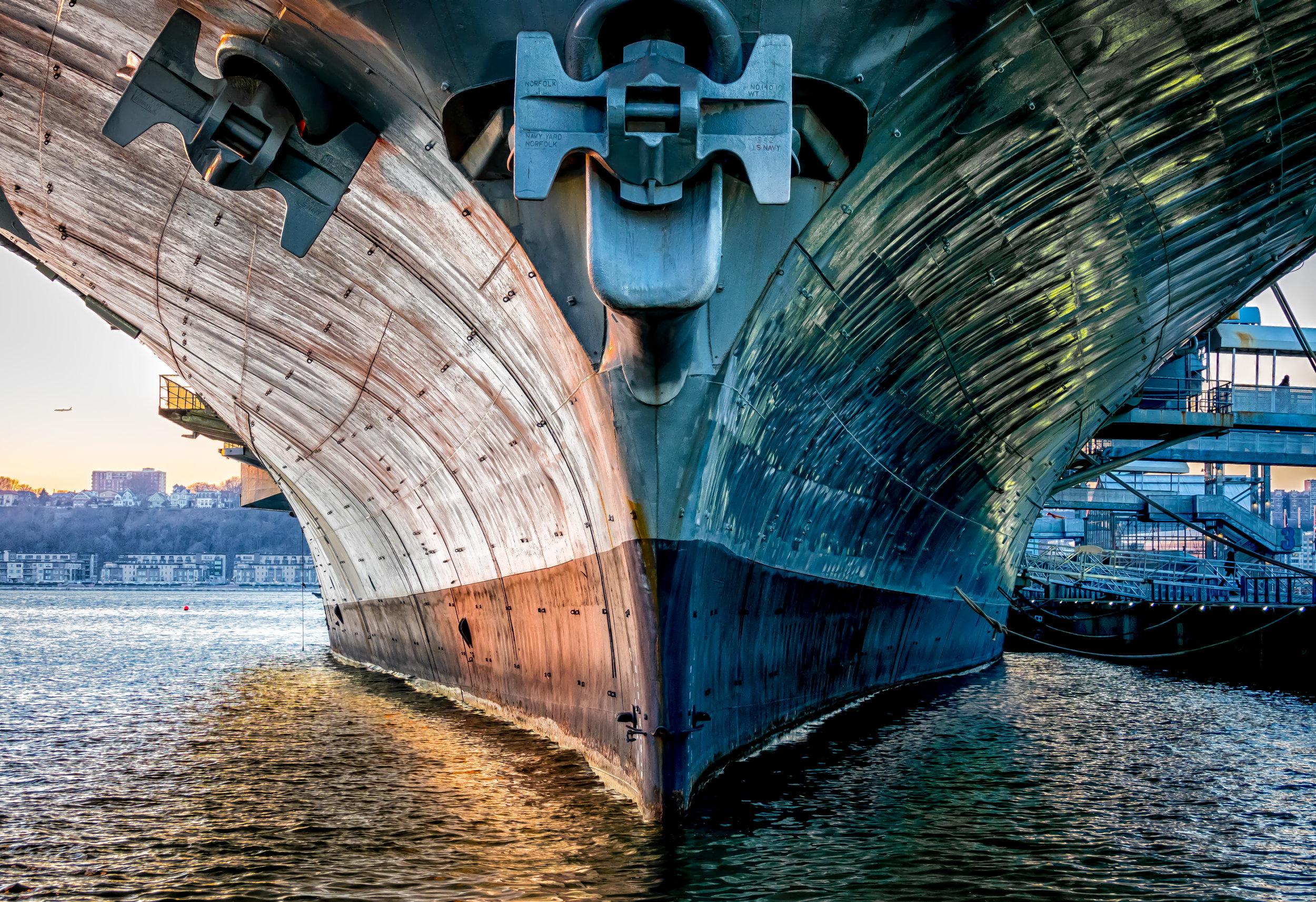 USS Intrepid Bow at Sunset