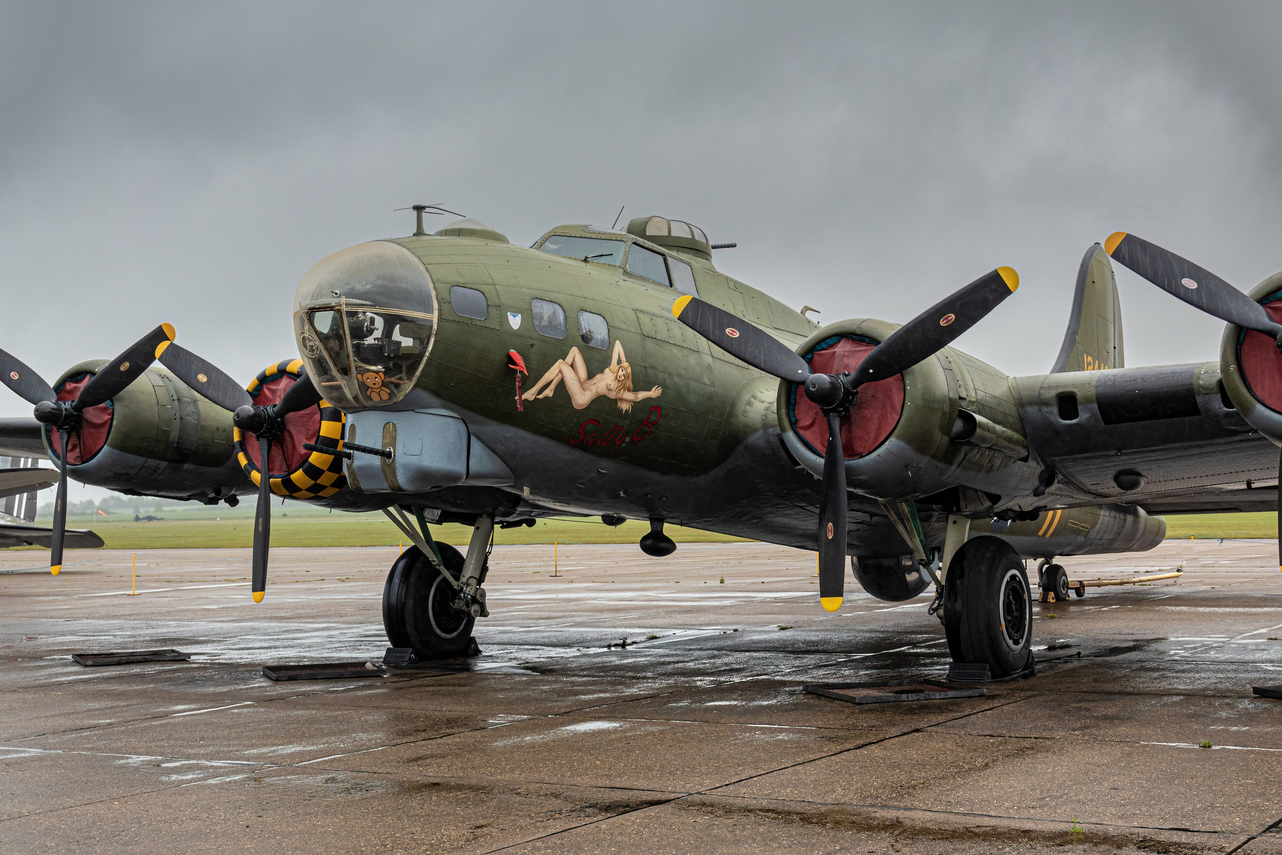This second B-17 is a flying exhibit which guests can pay for rides in. Here it is out on the tarmac looking like a scene right out of  Twelve O'Clock High  or  Memphis Belle .