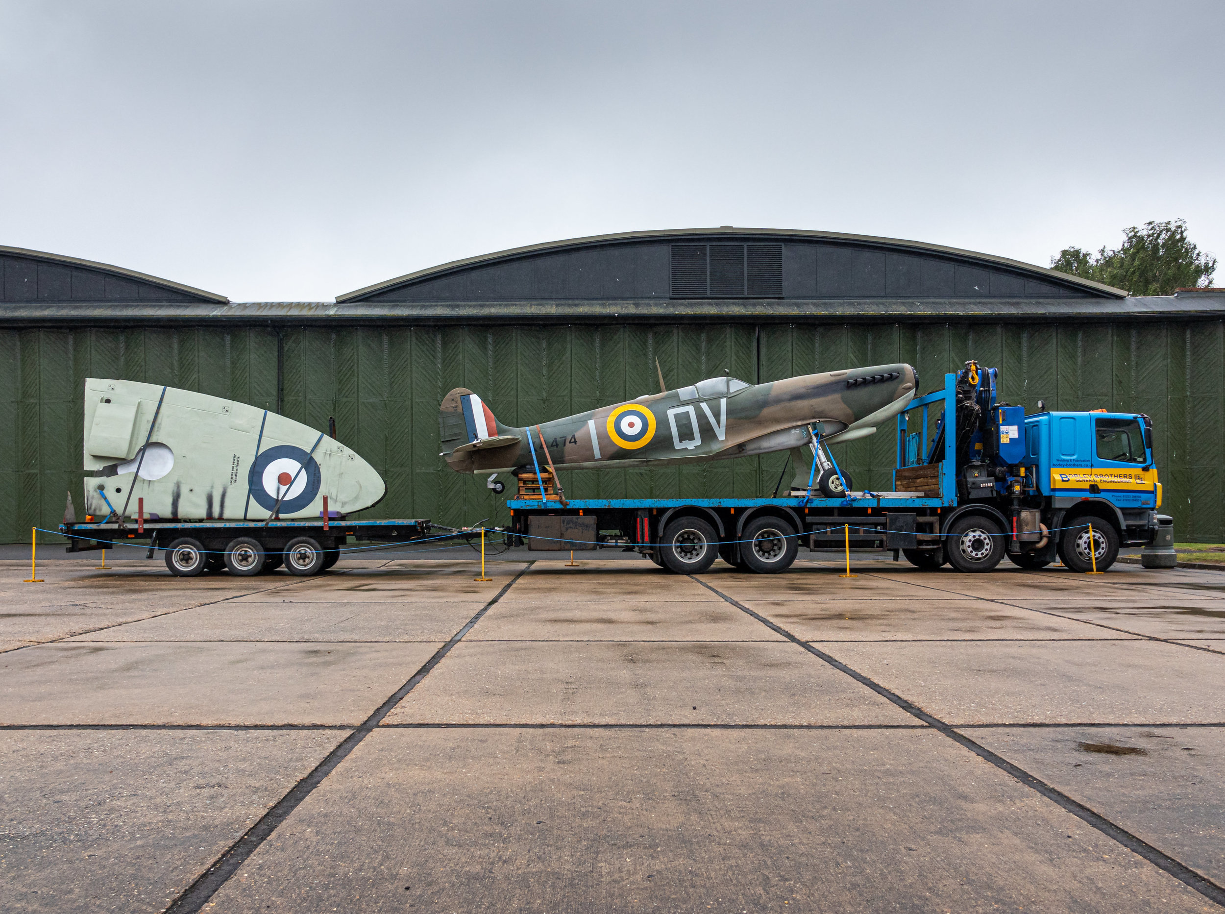 My last sight before leaving the museum was this Spitfire loaded on a tandem tractor-trailer. I guess it must have been used in one of the many 75th anniversary of D-Day shows that recently took place.