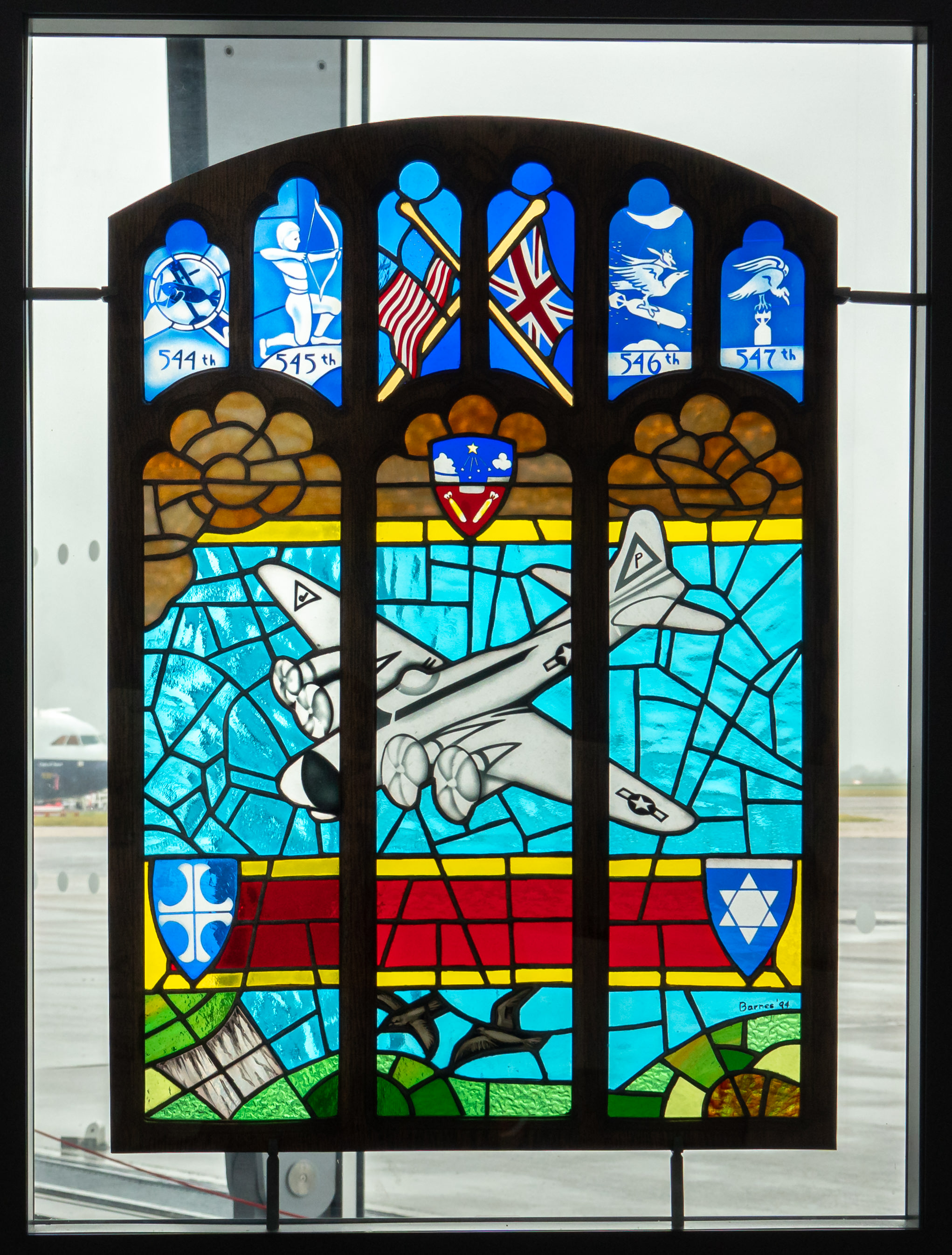 This stained glass panel was on loan to the museum from a local church. The people of England feel a deep sense of gratitude to the thousands of American Airmen who flew from English bases in WWII and never returned.