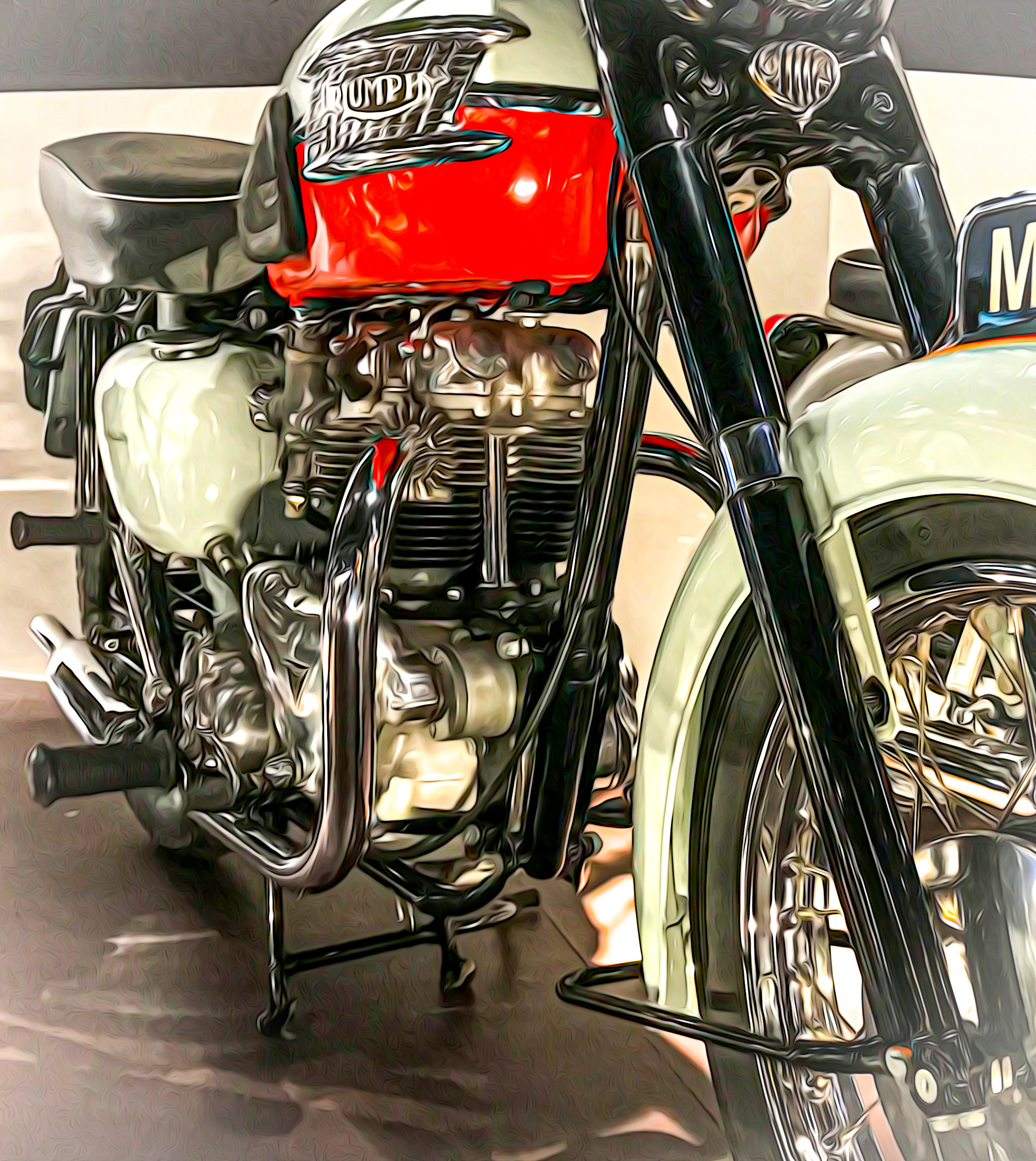 "This is the original 1959 Triumph Bonneville displayed in the factory's museum (yes, I applied a little artistry to this photo). Read my Blog article titled ""Motorcycle Musings"" to see how inspirational this bike has been to me."