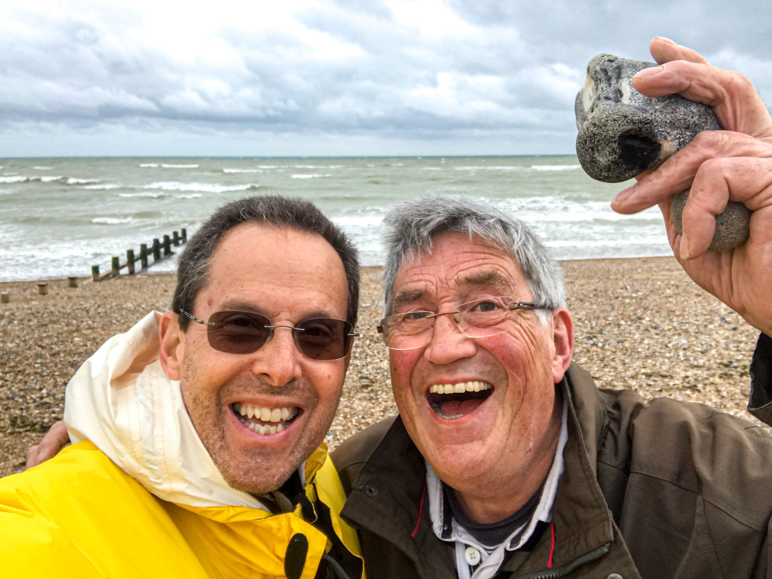 Colin picked out the best  Flint Stone  for me. The English Channel is behind us.
