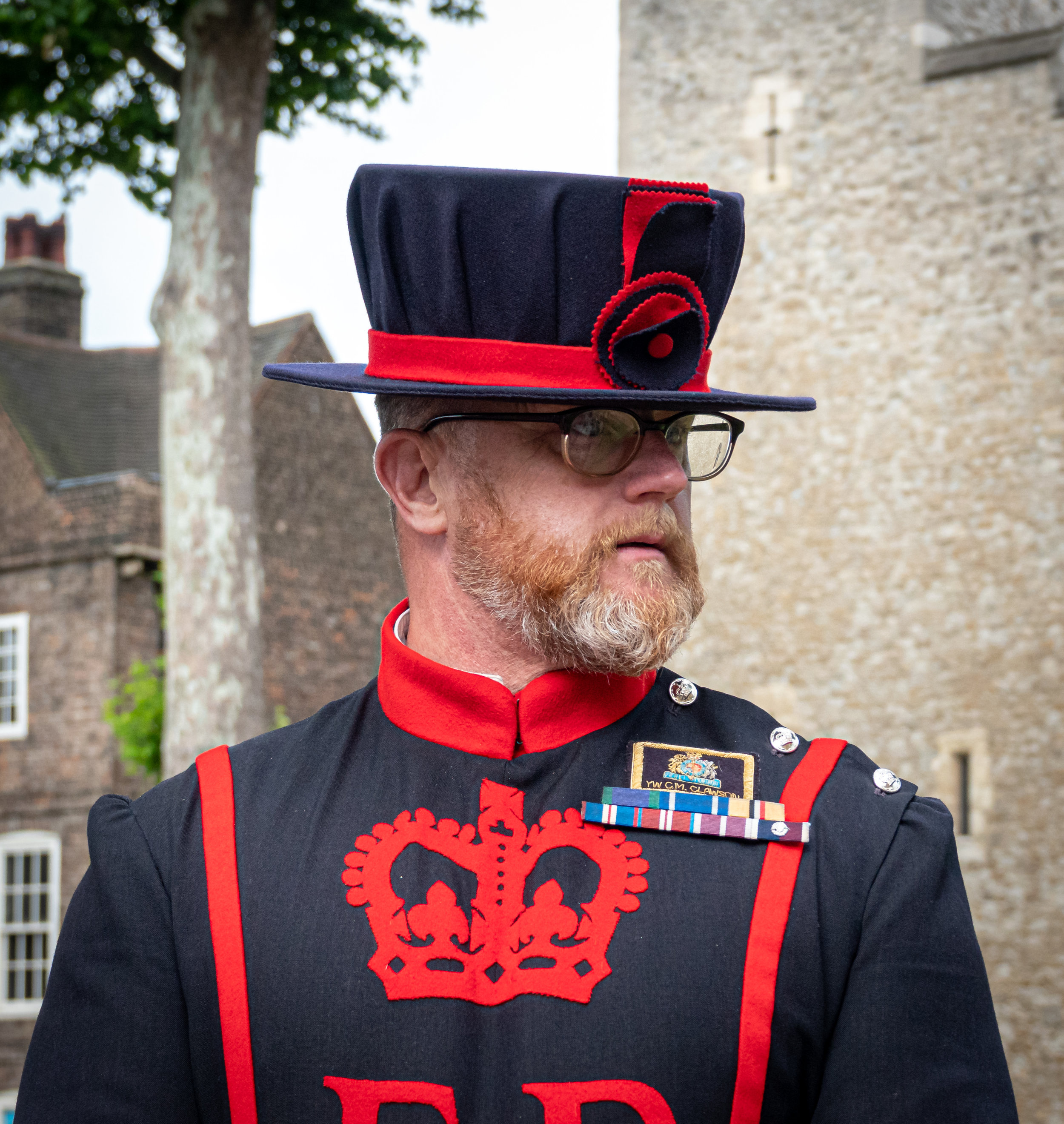 Beefeater Warder Yeoman Clawson. Before the 19th century, these guys received their pay in the form of slabs of beef.