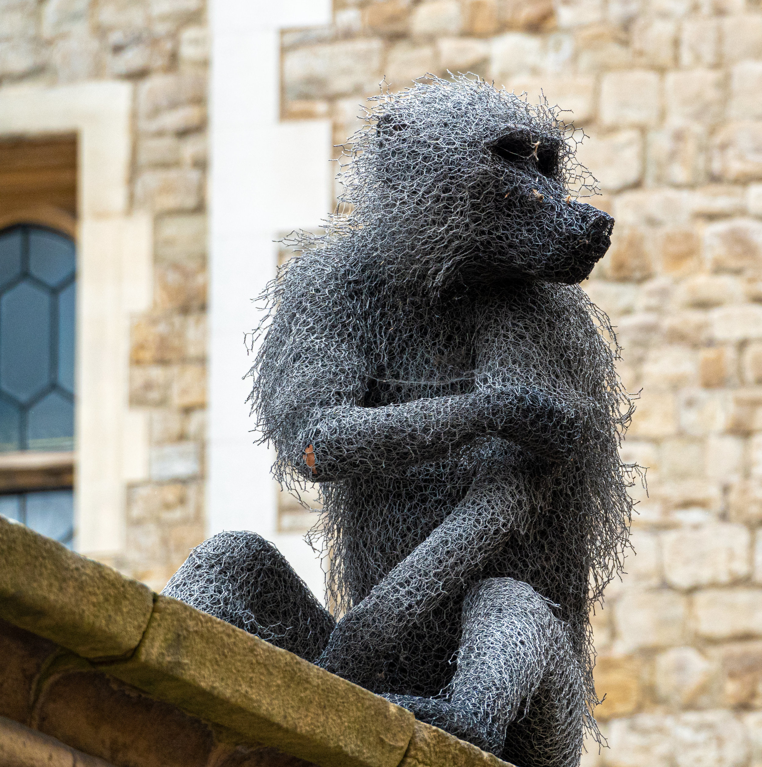 Apparently wild animals roamed freely on the castle grounds, along with the ravens. They've used life-sized wire sculptures like this one to cleverly illustrate this.