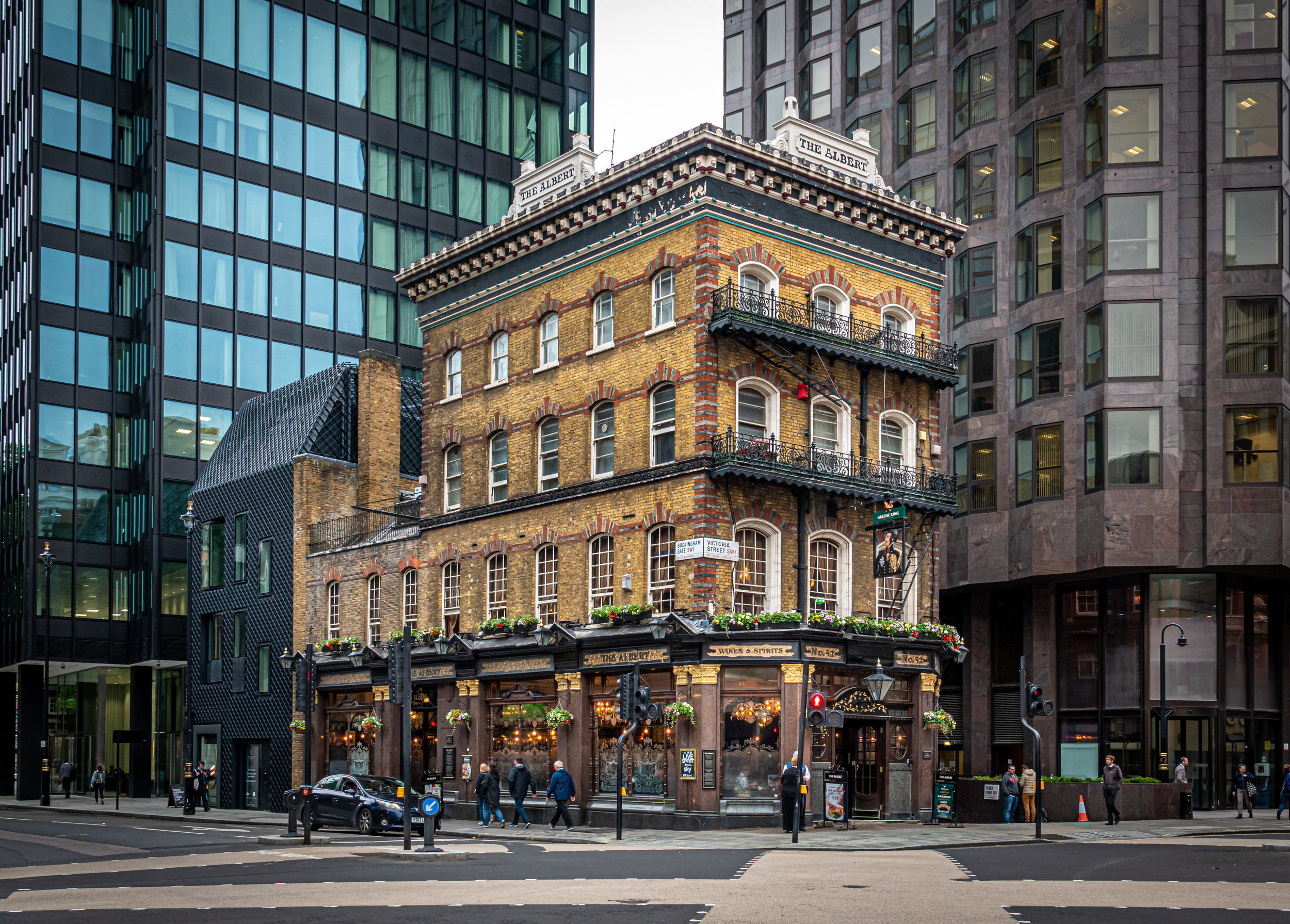 The Albert is a 250 year-old pub. One of my favorite things about London is all of the contrasts you constantly see. NYC used to be like that.