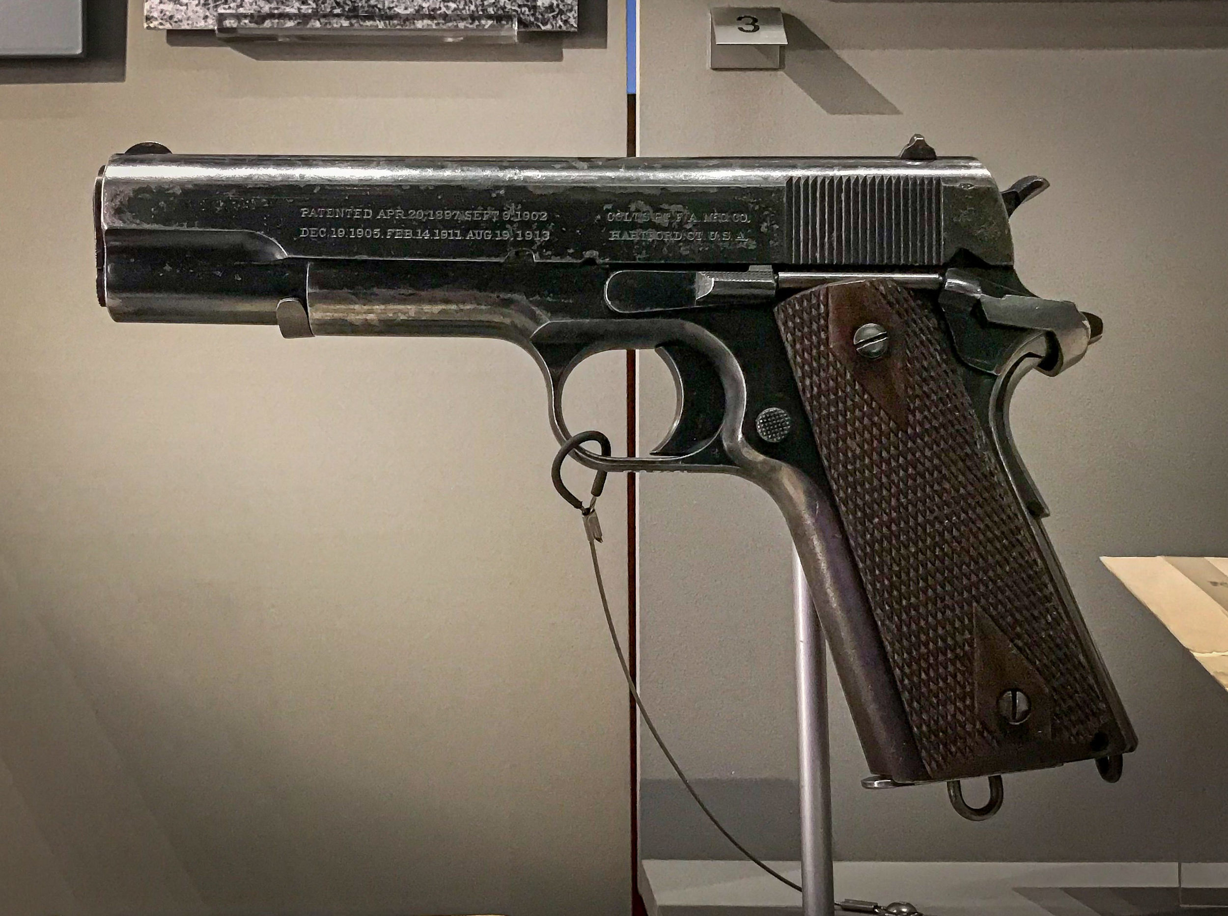 Churchill's favorite sidearm (and he had a lot of them); an American Colt M1911 that he purchased when he went to war early in WWI. I couldn't agree more with his choice.