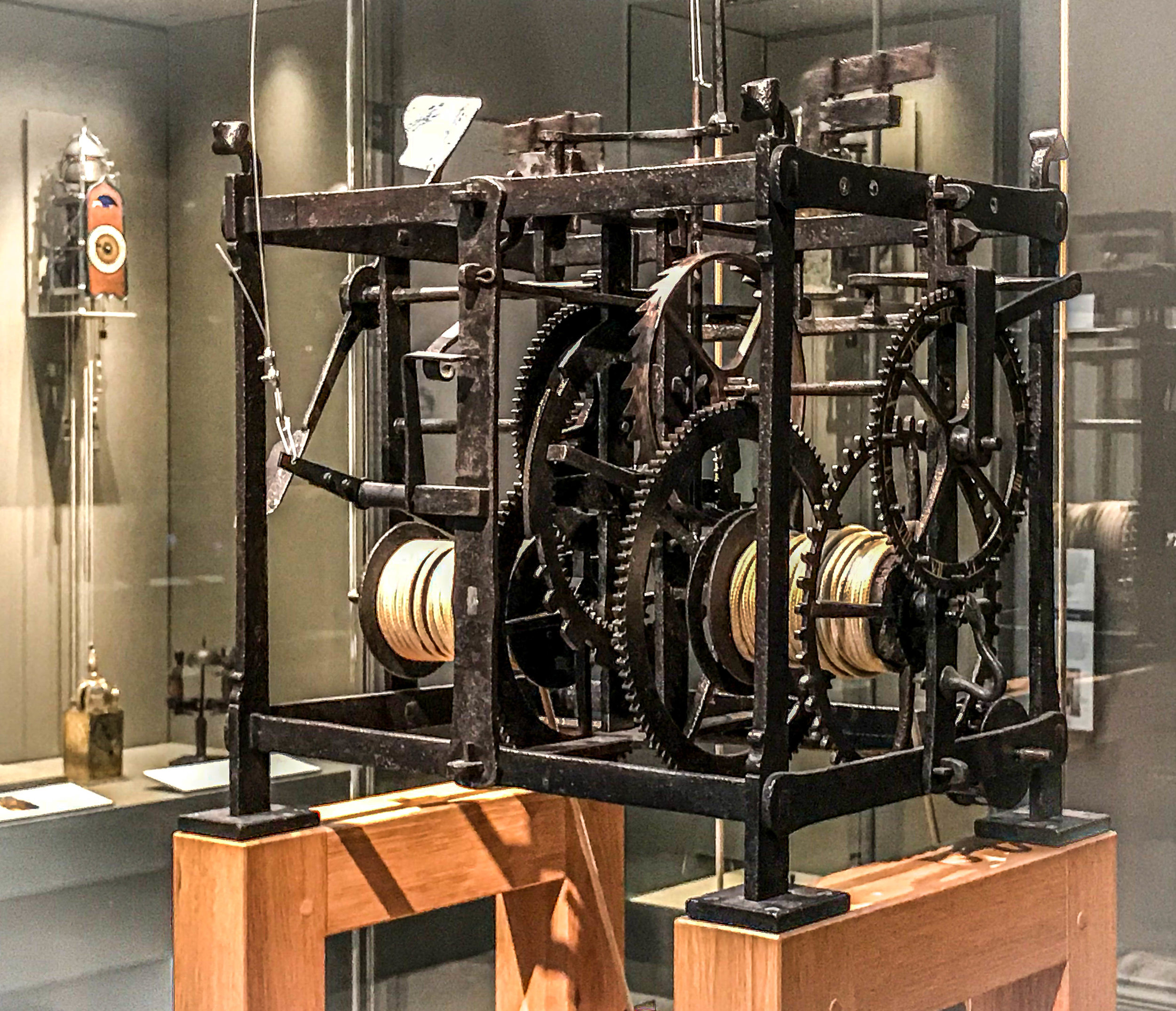 This 300+ year-old clock mechanism is actually operating now, along with video displays that clearly explain the functioning of the five basic components of every clock.