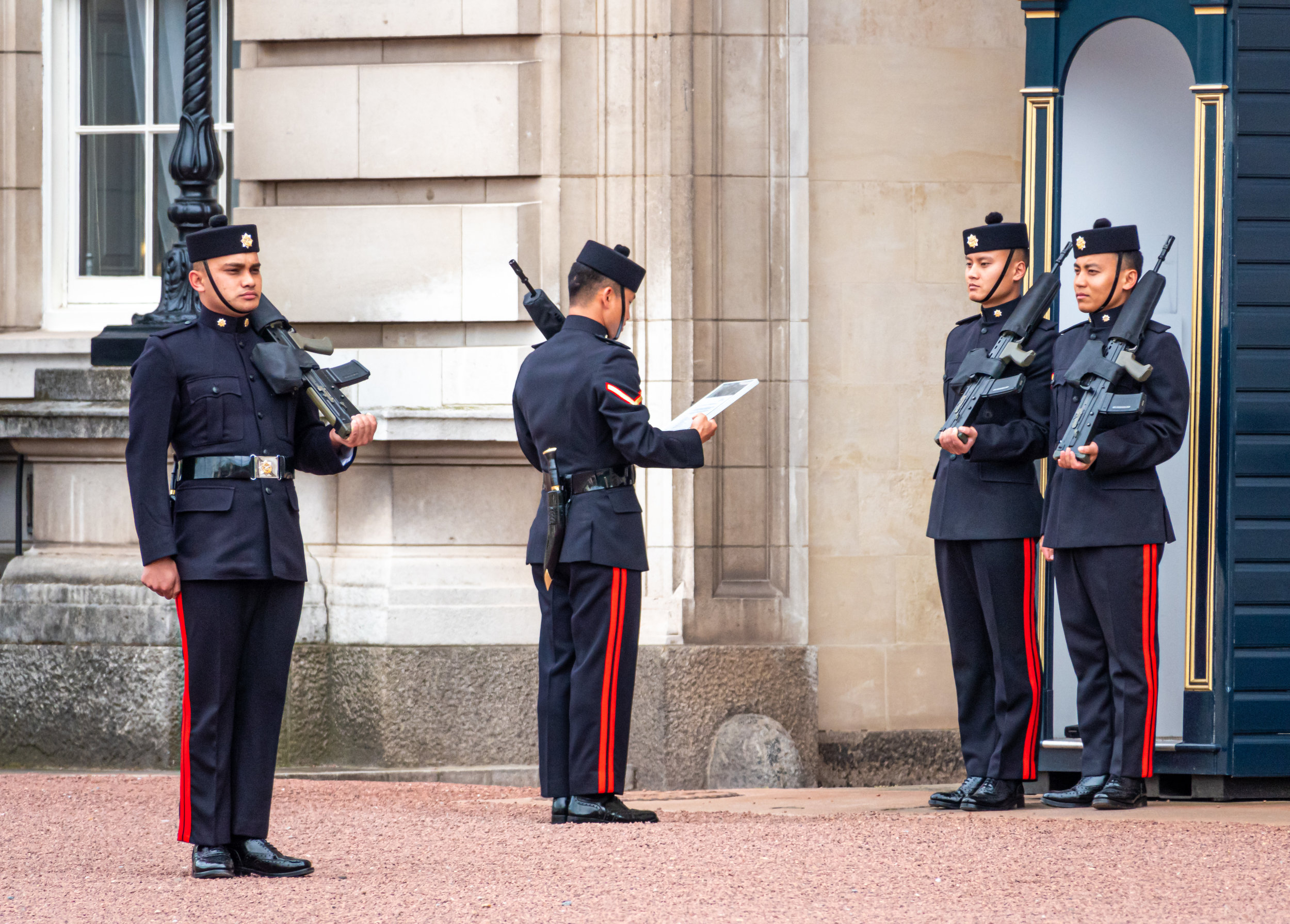 The Queen's Own Royal Ghurka Logistic Regiment Guard changing shifts