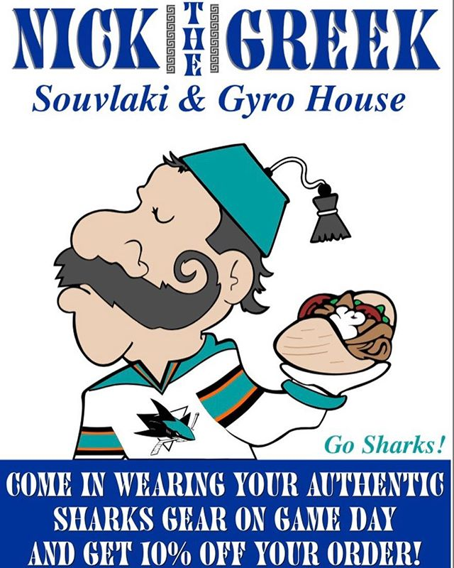 Opening game for the San Jose Sharks. Come in before or after the game with Sharks gear a receive 10% off .... this offer is only for our downtown location... GO SHARKS!!!!! #sanjosesharks #nickthegreek #downtownsanjose #sharksgame #sharkie #gyros #sanjose #sjsharksfan