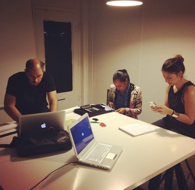 Our First Meeting in the Studio - From left to right: Tomas (Product Designer), Kim (client), Euge (friend that brought me along in her journey, also a product designer)