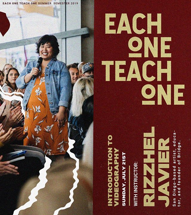 Artist and Educator Rizzhel Javier (@rizzhel.javier) is teaching Video Basics to support the Each One Teach One (@eachoneteachone.sd) 2019 Summer workshop series. Come out Sunday, 7/21 @11AM at Good Friday Art Gallery (@goodfridaysd) to improve your video game. WORKSHOP IS FREE & OPEN TO PUBLIC. . . . Learn the foundational elements of video production and editing using your smart phone or tablet. This hands-on style workshop will cover design and composition, point-of-view, camera movements, equipment and basic editing. Students will leave the workshop with a finished video that reflects their understanding of these tools and skills. Join us to make your videos more fun and exciting to watch! . . .  Bring your smartphone, tablet, headphones, chargers and have your passwords readily available for App downloads. . . . Rizzhel Mae Javier is a San Diego based artist, educator and founder of Bridge. She advocates for media literacy by partnering with organizations in San Diego whose mission is to provide youth skills to share their story. Rizzhel believes that representation matters, and that with the technology we have today, everyone one should have the tools to creatively express what is on their mind. She wants to live a world where she sees her own community reflected in media she sees and is making contributions to this mission by teaching video at Cal State San Marcos,  Photography at San Diego City College and is the Media Instructor for Pacific Arts Movements award winning youth documentary film program Reel Voices.  #E1T1 #medialiteracy #community #arteducation