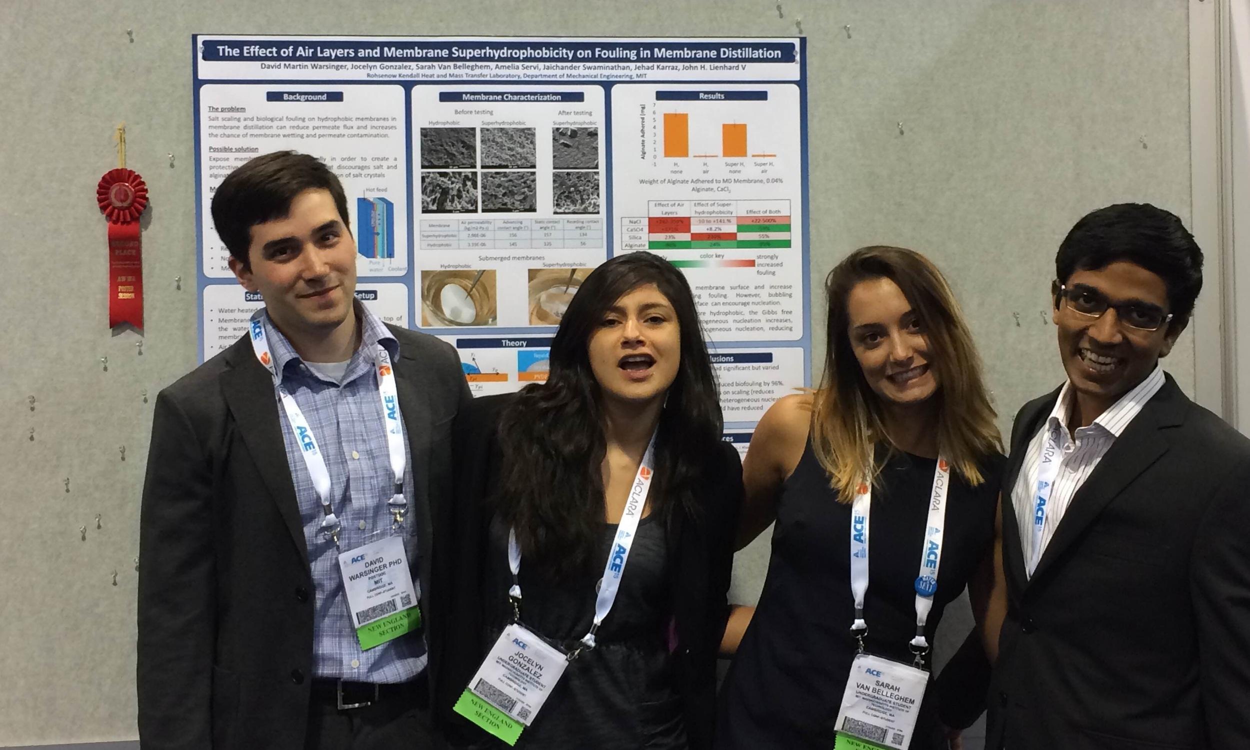 Poster coauthors in a silly photo (David, Jai, and the then undergrads Sarah and Jocelyn) at the ACE AWWA conference, the world's largest water conference, with over 10,000 attendees. They won second best poster for this one, and first for the other Poster that we presented.
