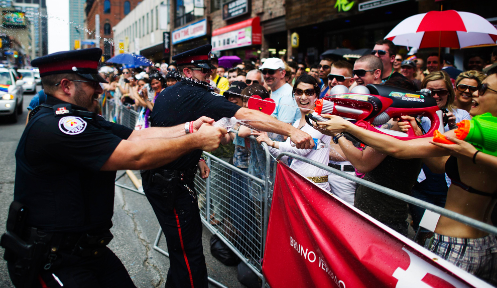 Toronto cops laying down withering fire at the Gay Pride Parade. No wonder Black Lives Matter wants them out.