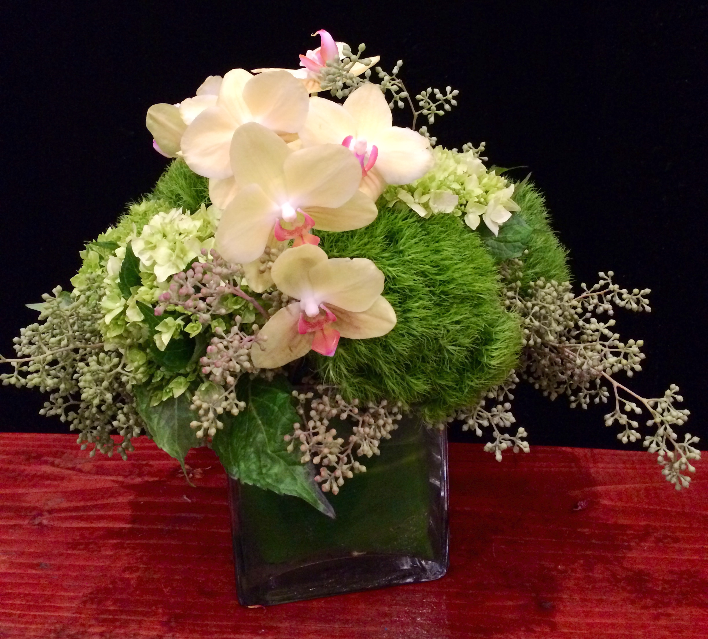 Yellow Phalaenopsis Orchids, Green Hydrangea, Dianthus, & Seeded Eucalyptus