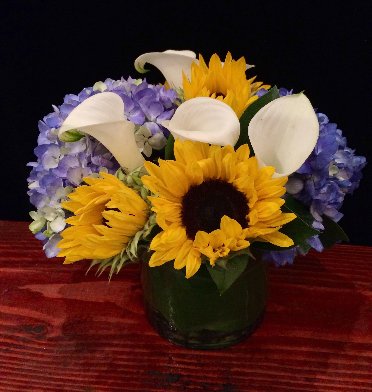 Sunflowers, White Calla lilies, & Blue Hydrangea