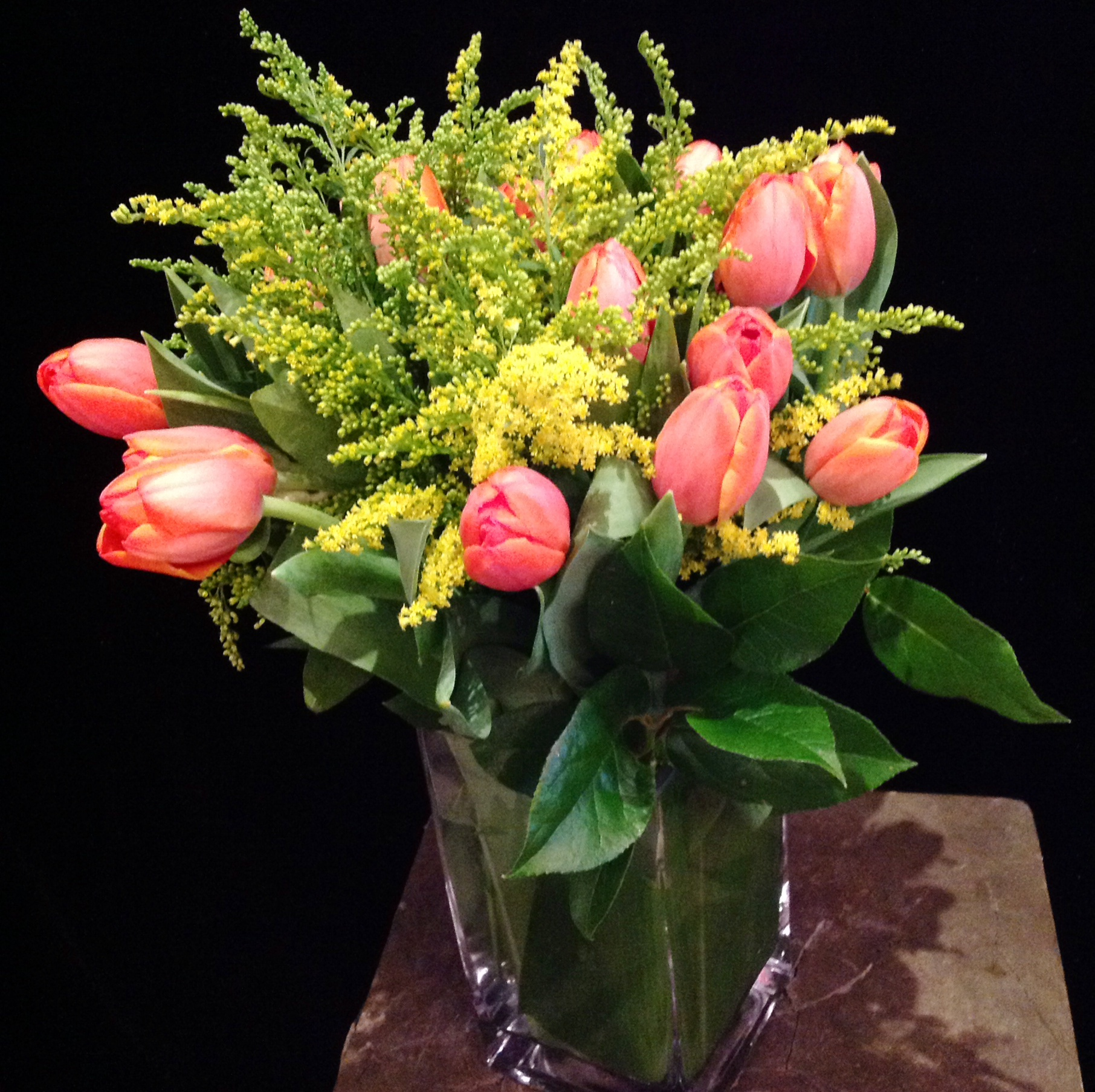 Orange Tulips with Solidago