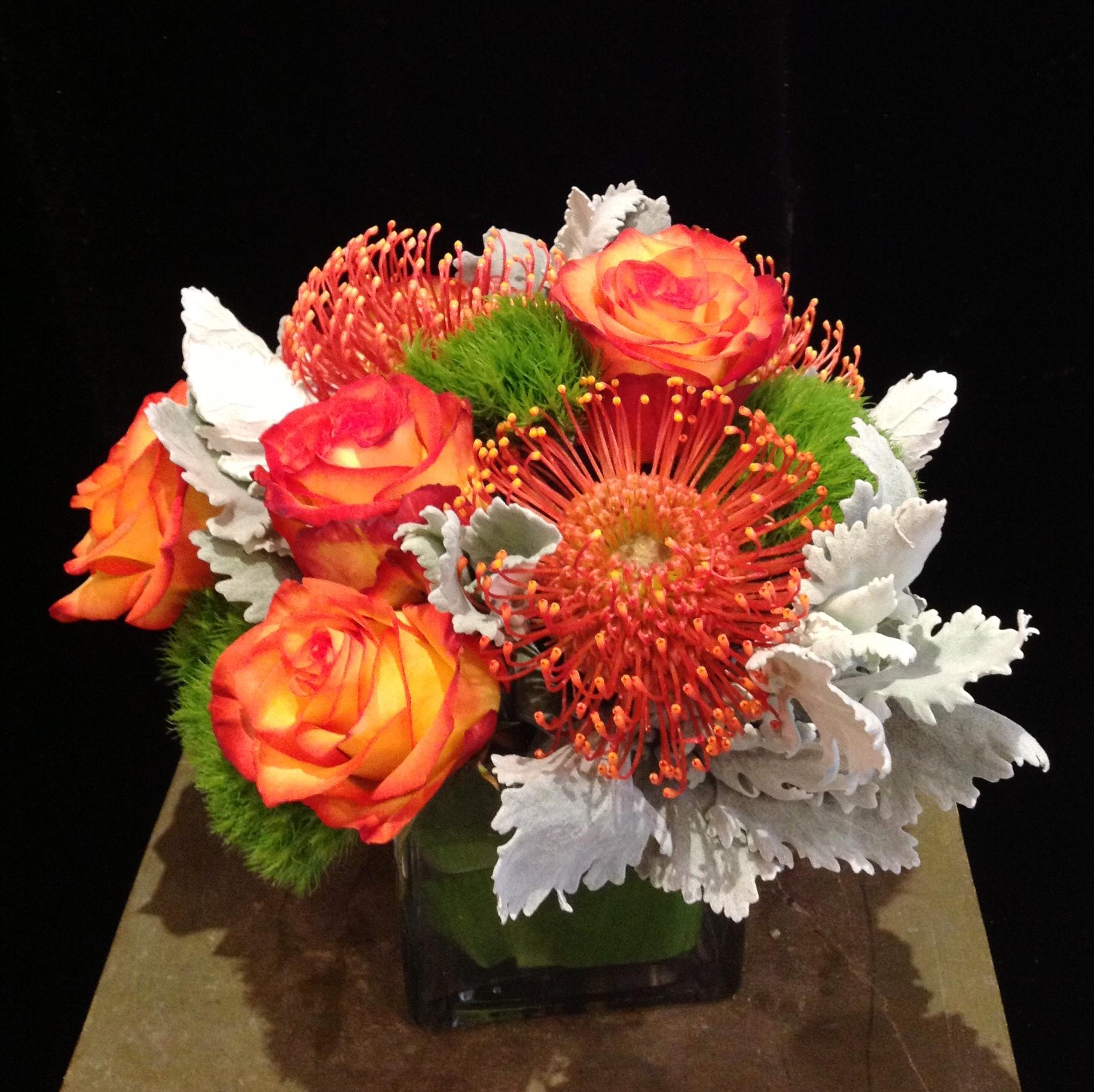 Half a Dozen 'High & Magic Roses, Orange Pincushion, Dianthus & Dusty Miller