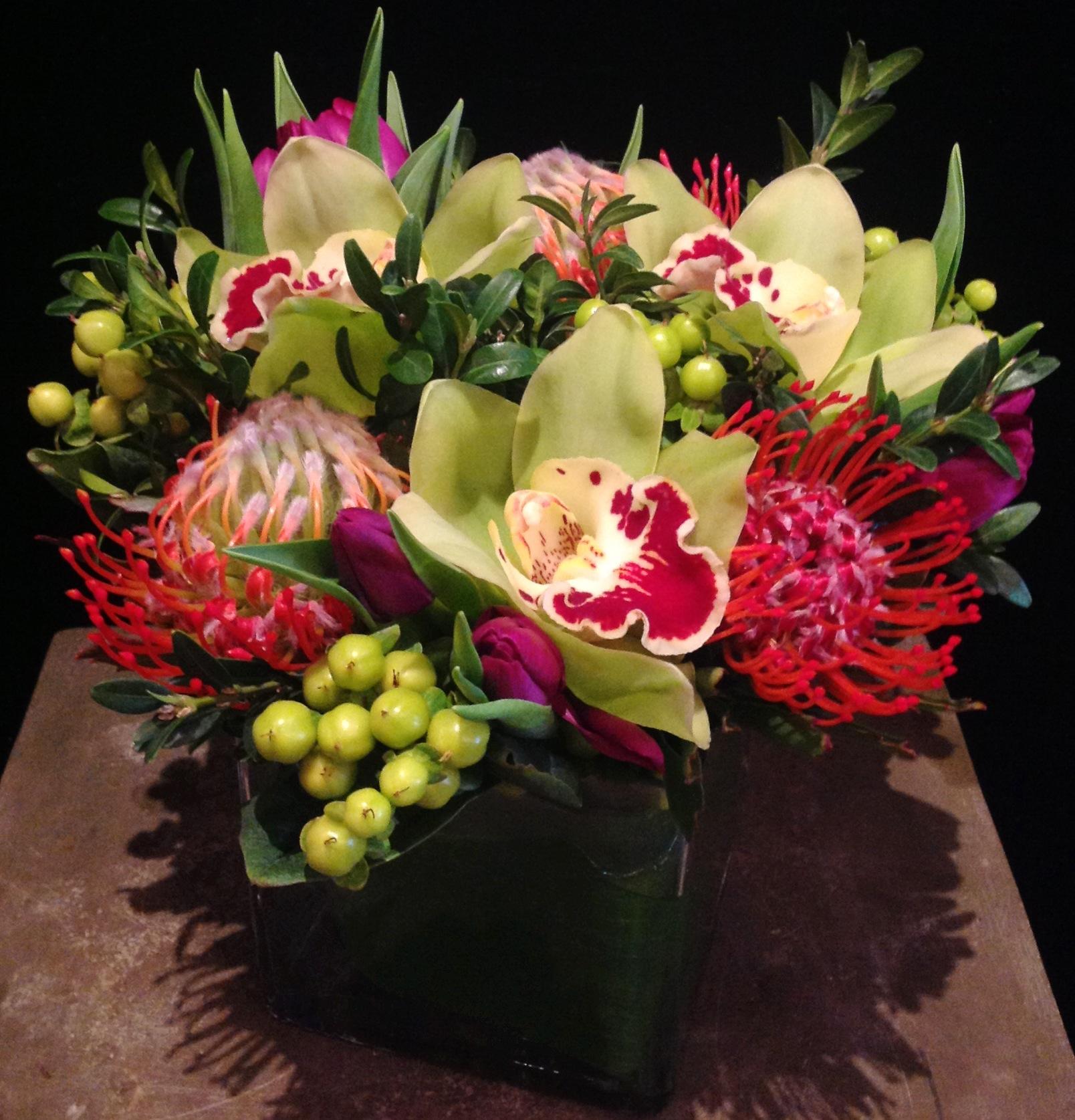 Cymbidium Orchids, Pincushion, Tulips, & Hypericum Berries
