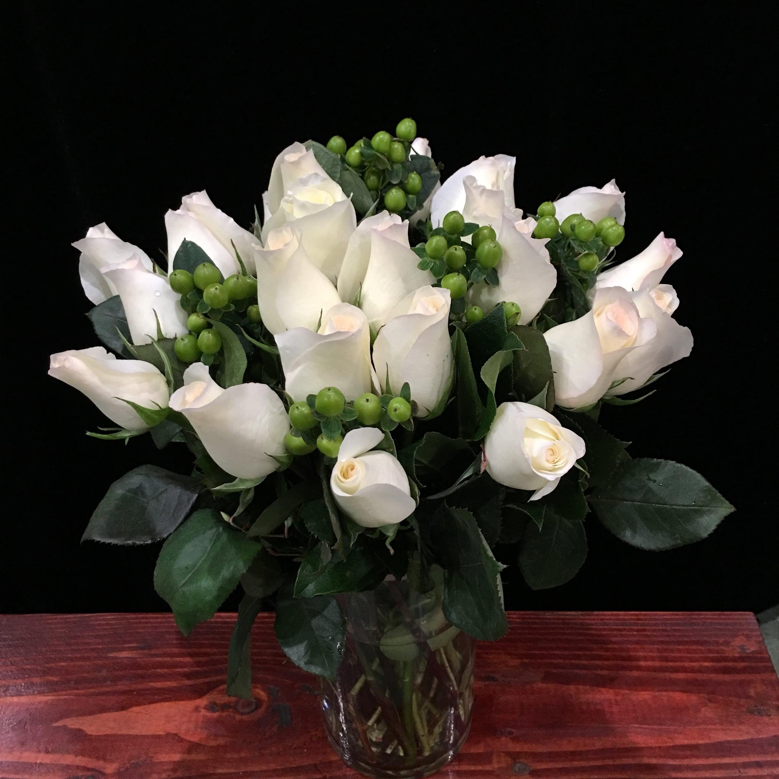 Two Dozen White Roses & Green Hypericum Berries