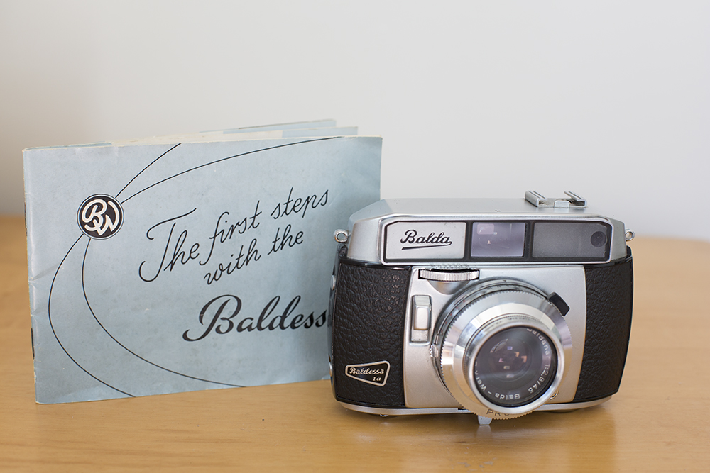 The 1958 Balda - Baldessa 1 a. I purchased this mint condition vintage camera from the Nelson Sunday flea market a few years ago for $30. It was in perfect condition and came with all its original packaging, the box, cover and instruction book. It looks like its never been used.