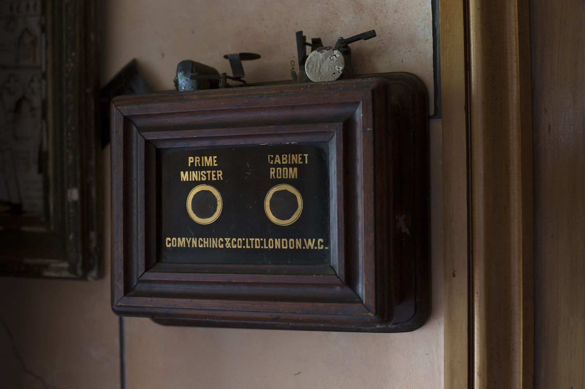 A souvenir from his time at No.10 Downing Street, the bell box in the cabinet secarateries room.