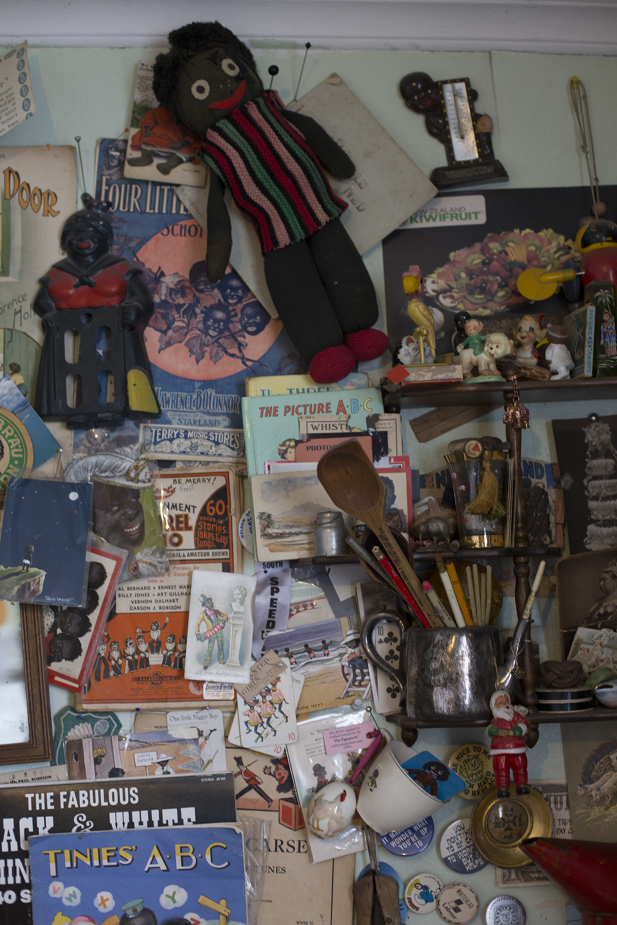 This is the wall of the back office, with all the speciality items and the controversial collections.