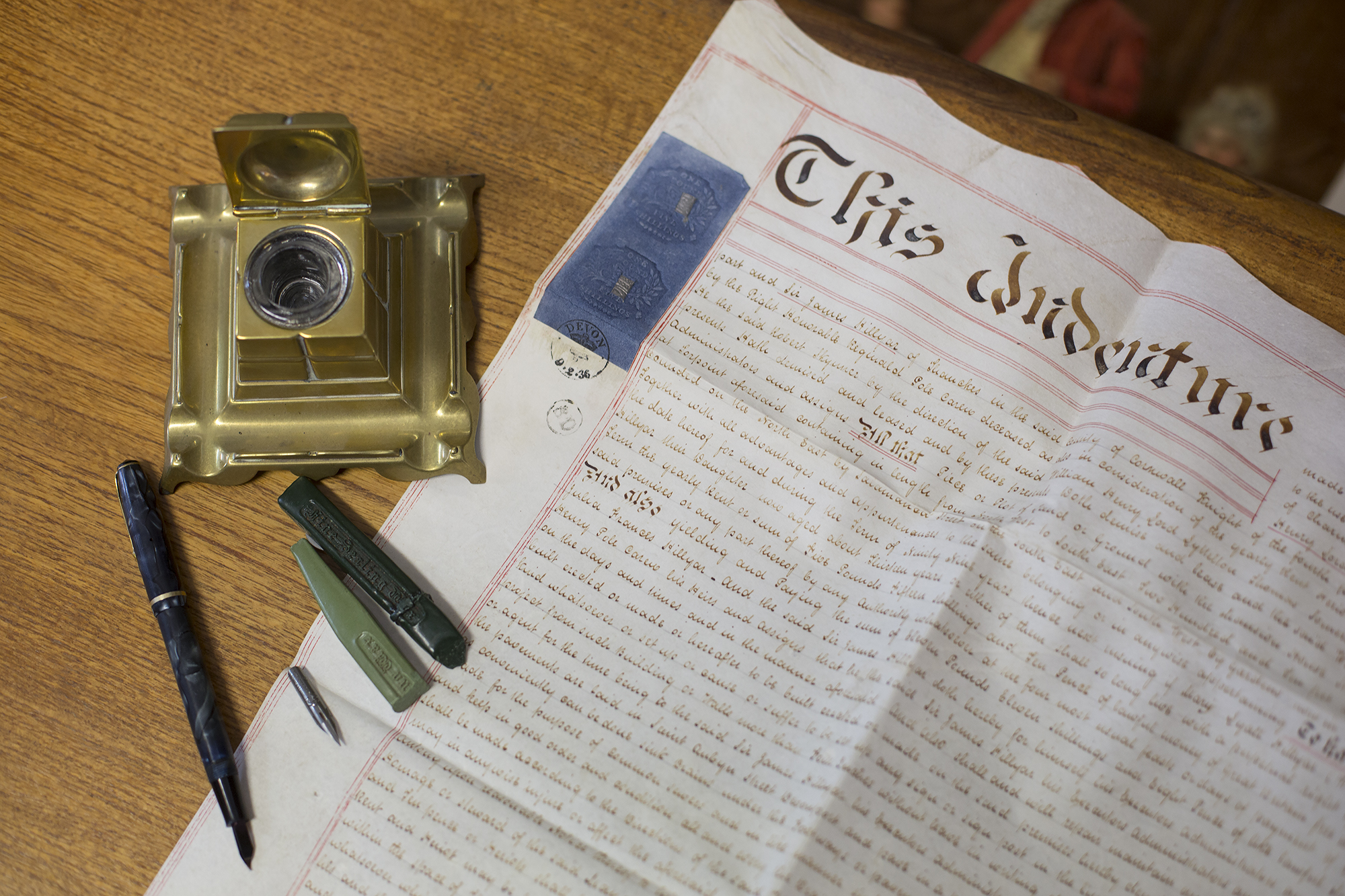 1836 - English land deed, ink well, sealing wax and dip fountain pen.