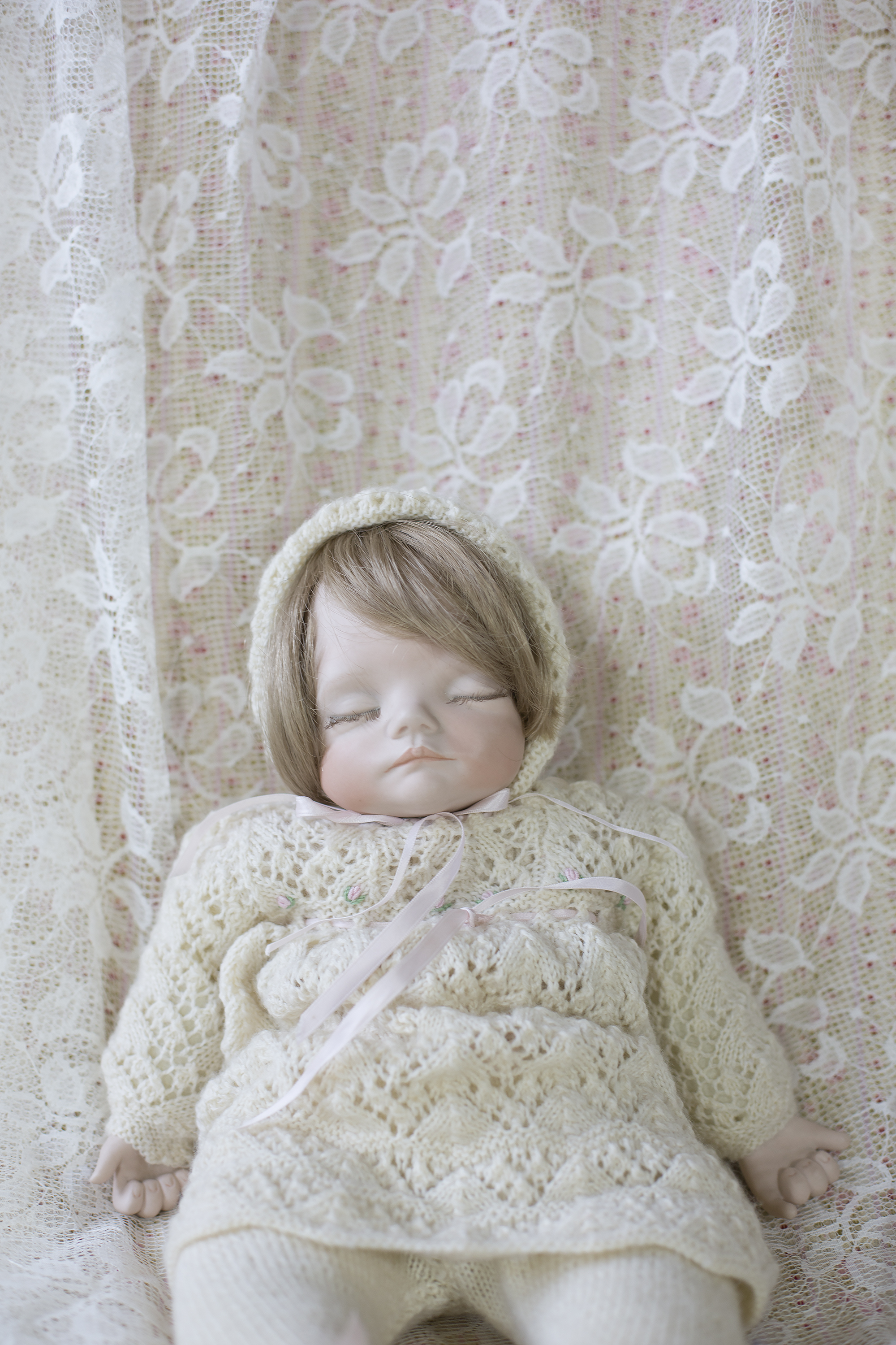"""Porcelain doll made by Judith in 1992 called """"My Princess"""" it is a mould by Joyce Wolfe filled with glass beads so it can be moulded into your body."""