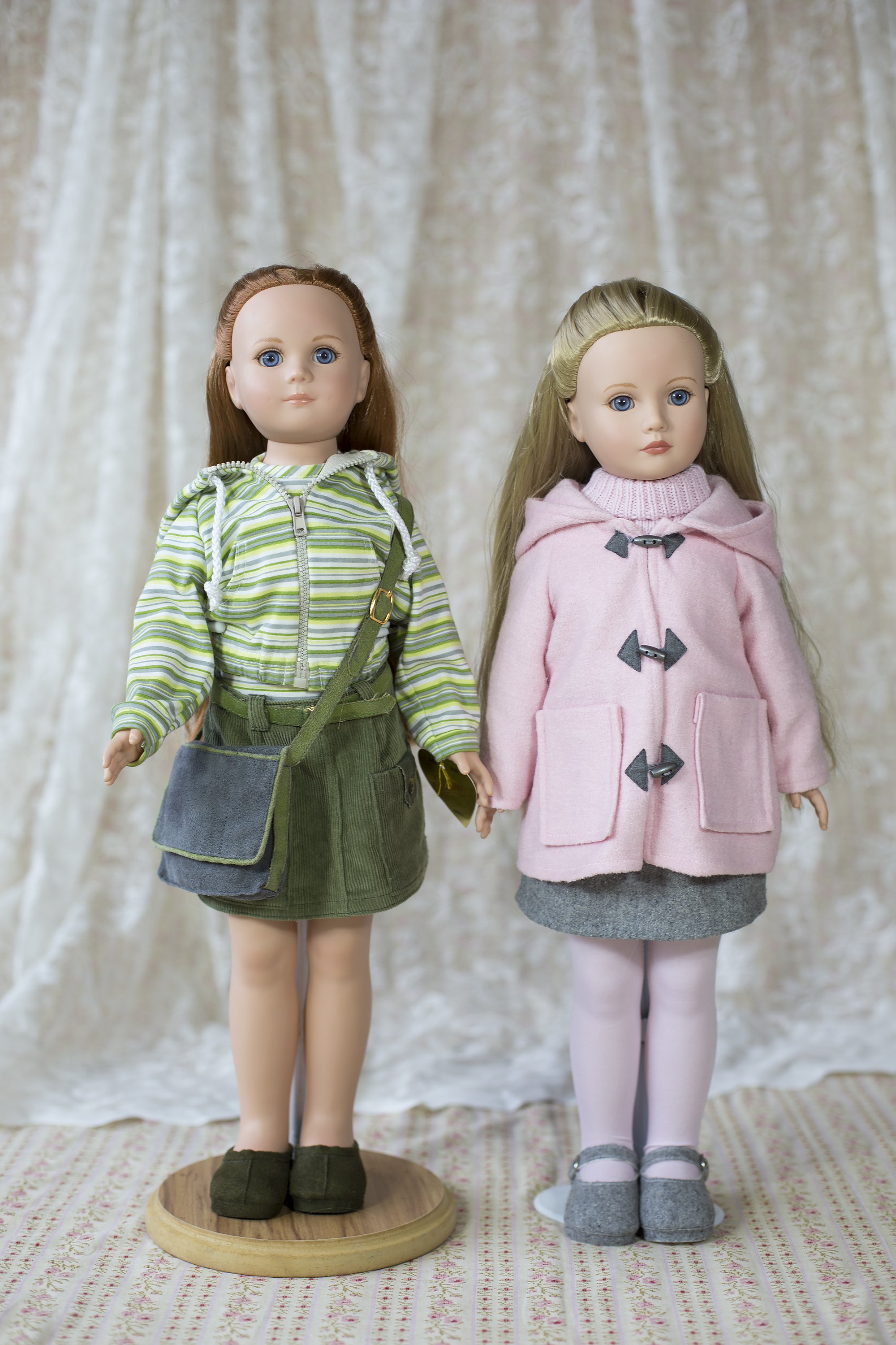 """21""""  Robert Tonner dolls  from America. Madison Ave field trip """"Gloria Ann"""" in pink duffel coat and Central Park stroll in green """"Ruth Anne"""" both 2004."""