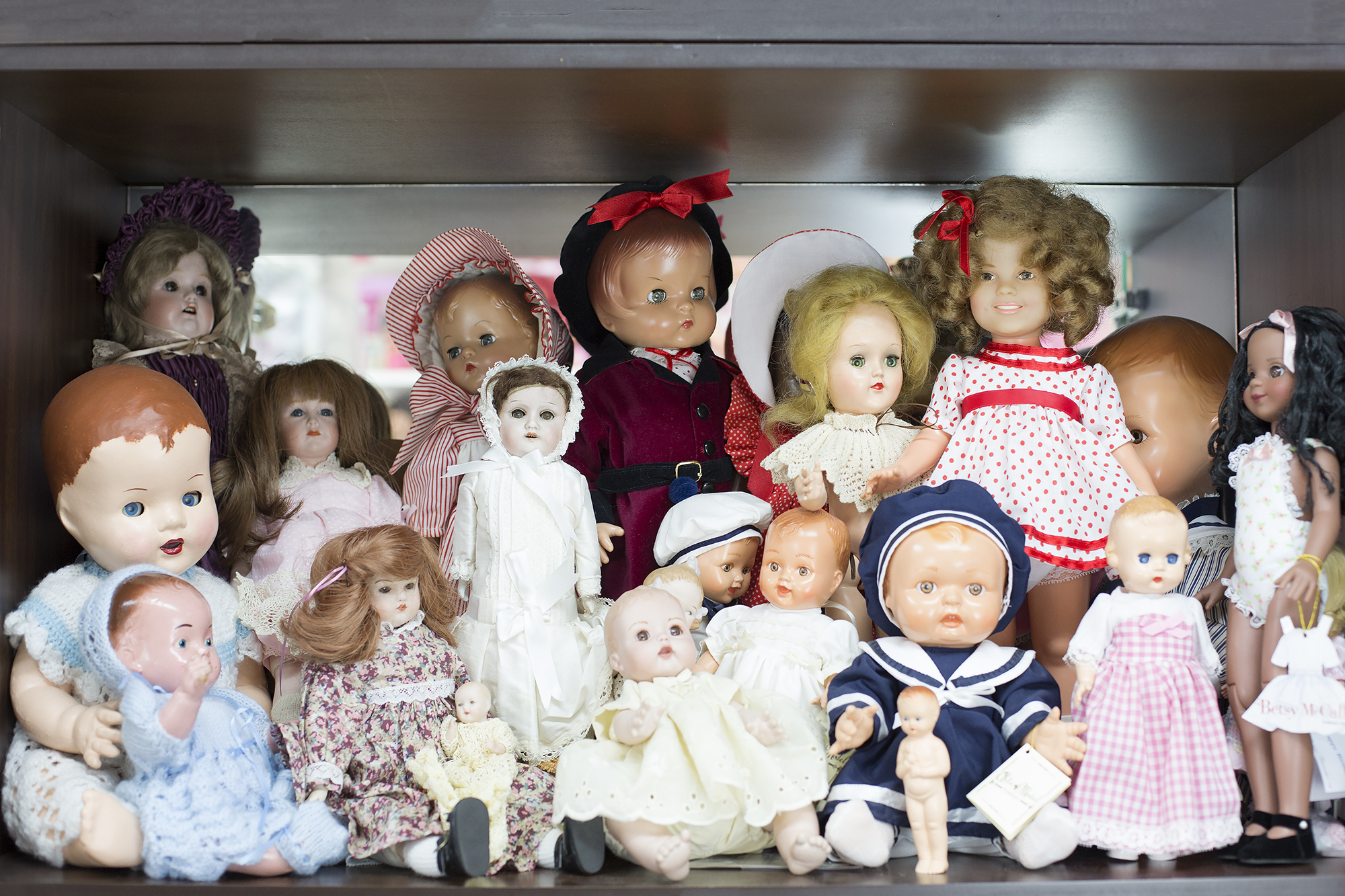 """Doll in white and red spotty dress is """"Shirley Temple"""" by Ideal  Patsy, Betsy McCall  Composition dolls 1950s Spanish Reproduction dolls 1990s Tony doll 1940s"""