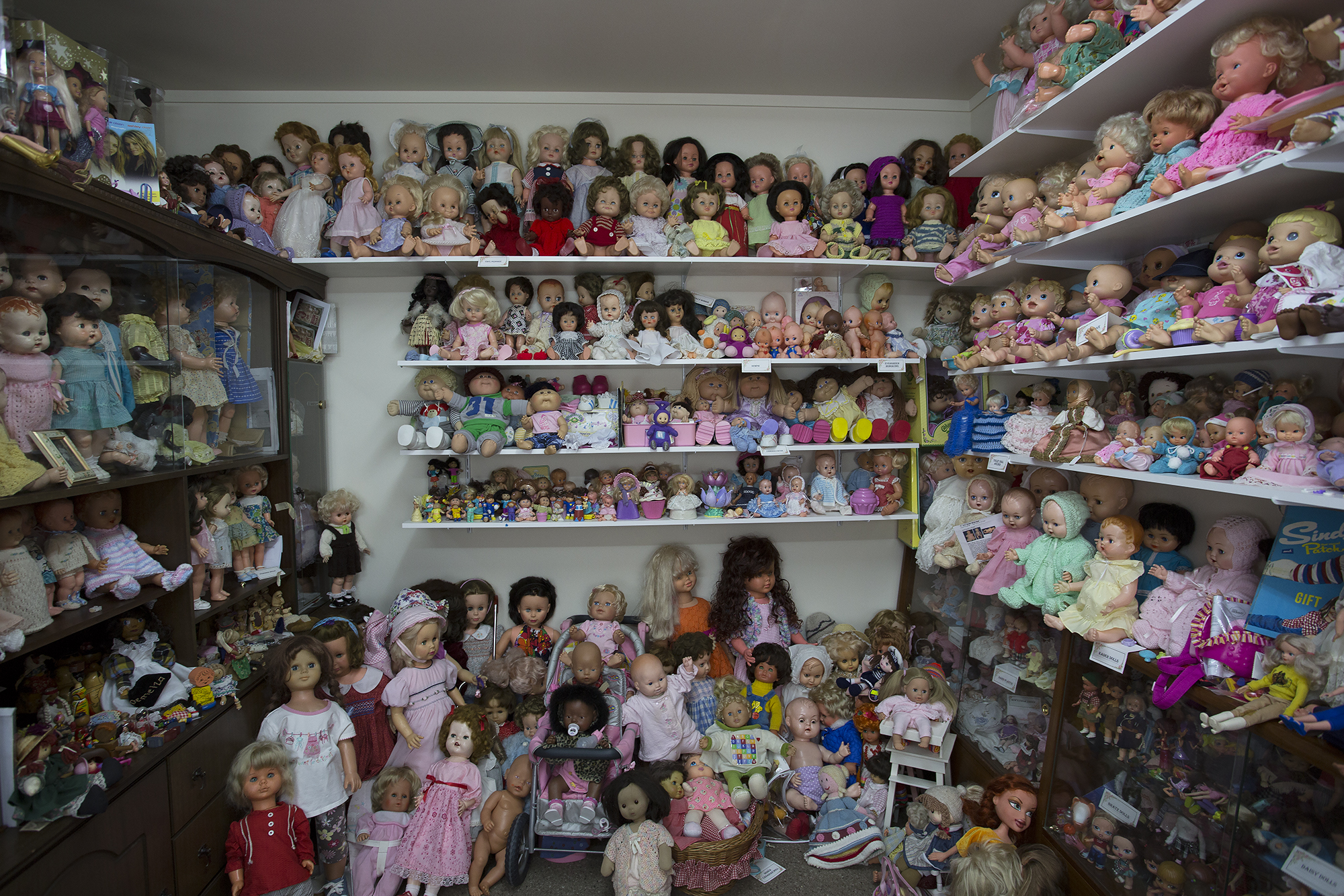Judith has a purpose built dolls room on her property in Wakefield, Nelson. The room is protected from the sun to prevent fading and is home to over 2000 dolls.
